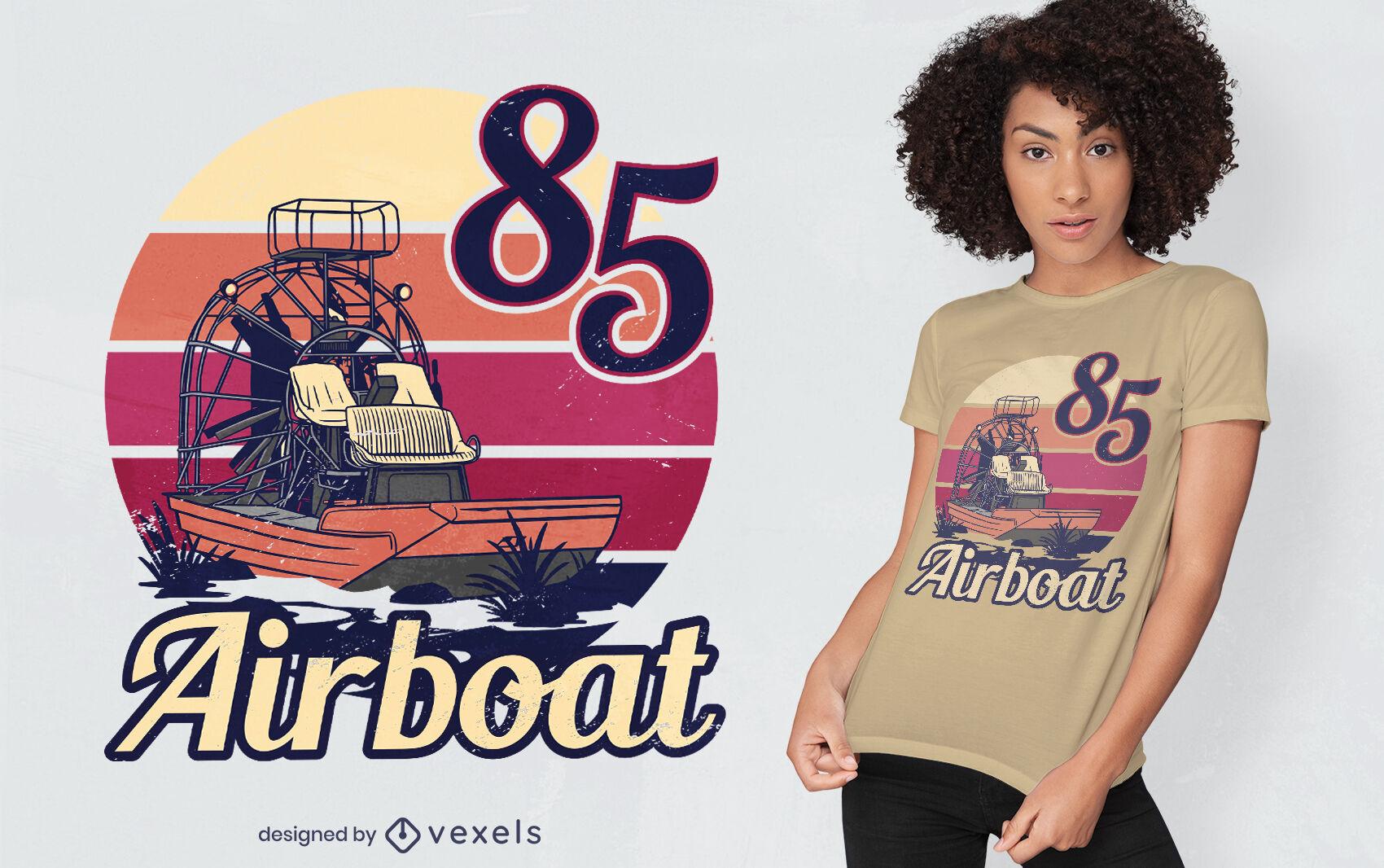 Airboat-Transport Retro-Sonnenuntergang-T-Shirt-Design