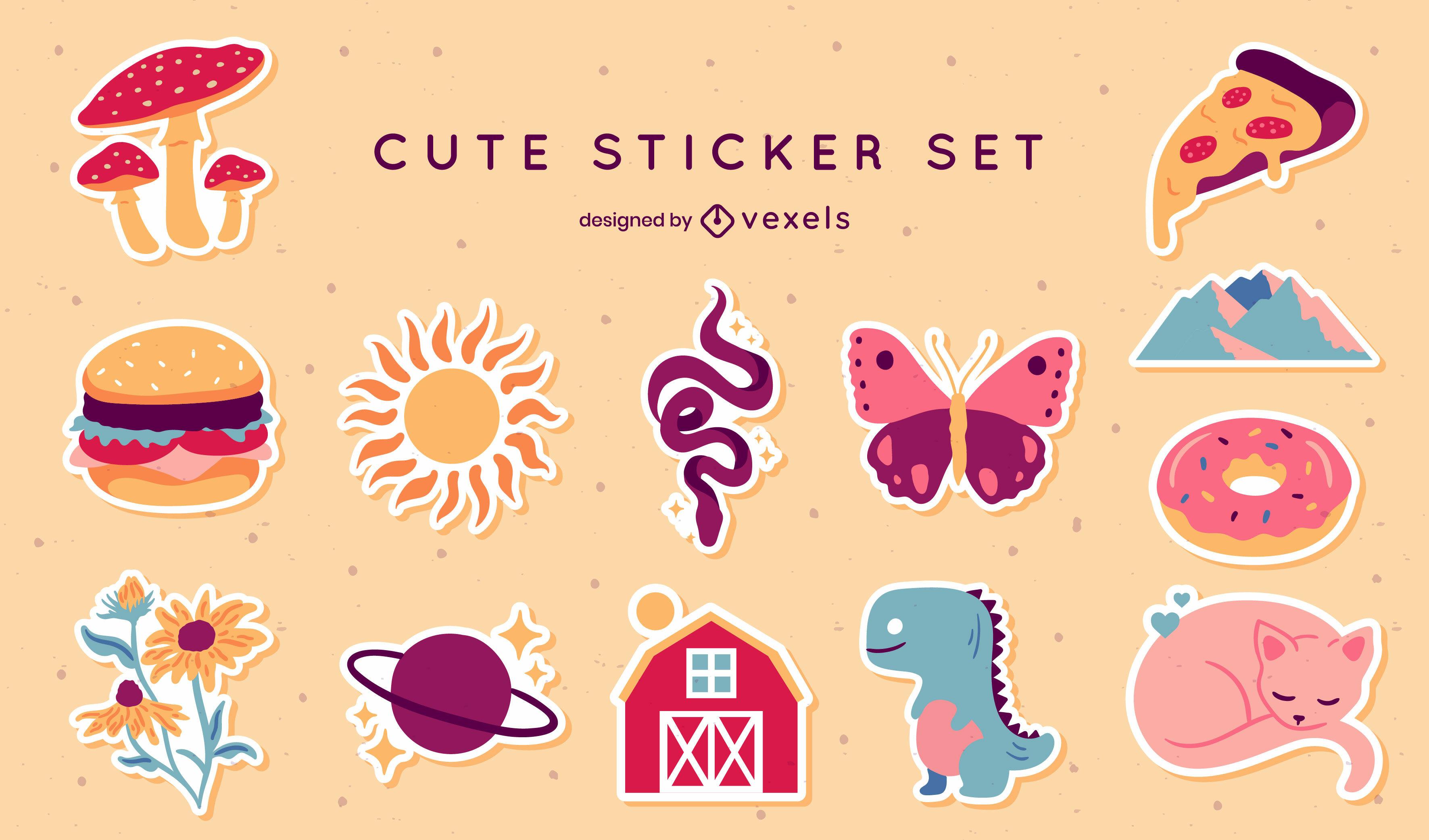 Cute stickers set
