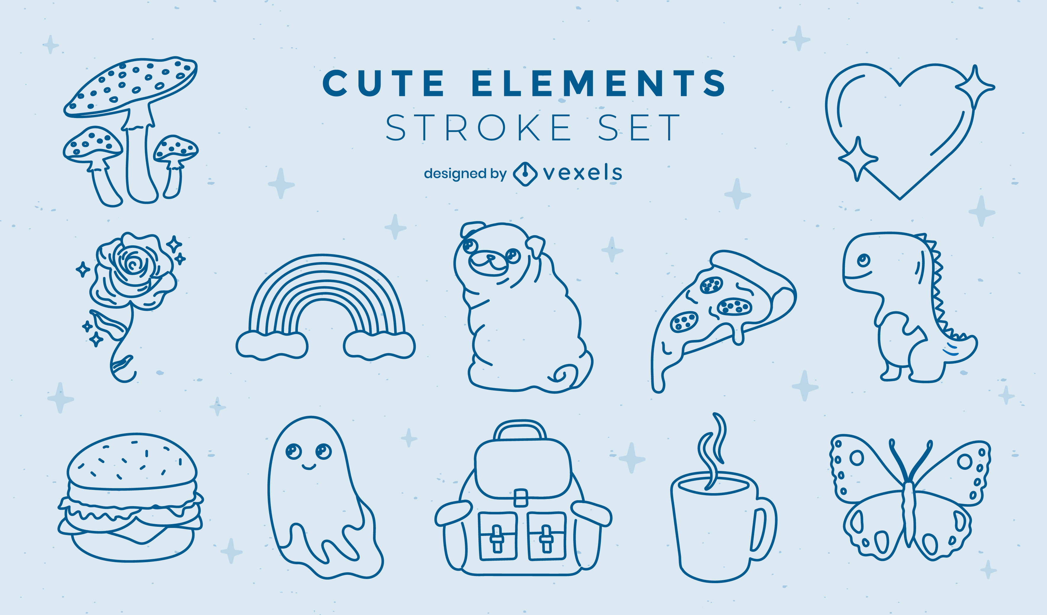 Cute asssorted elements stroke collection