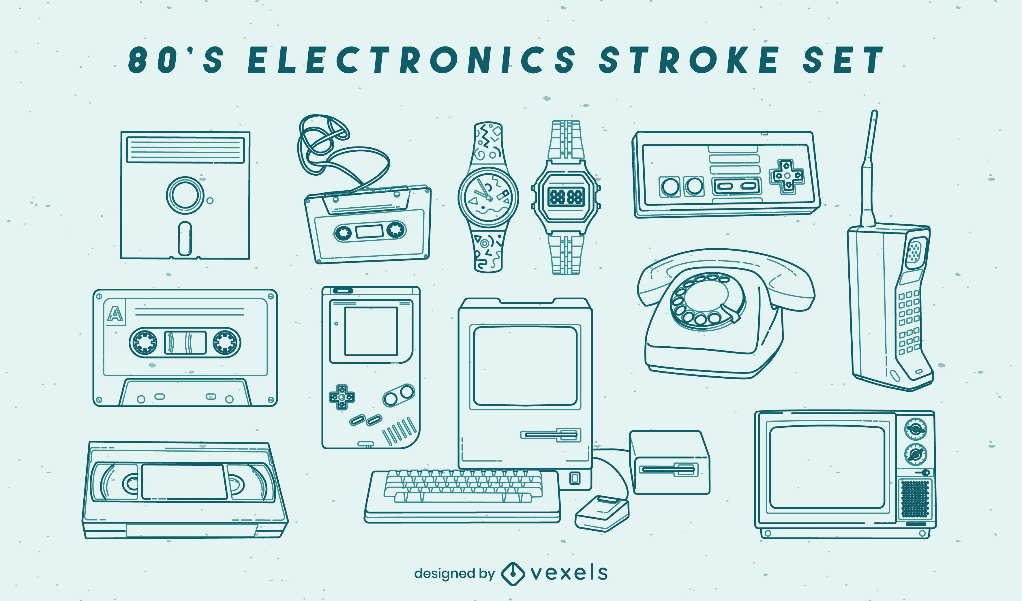 Conjunto de trazos de elementos electrónicos retro
