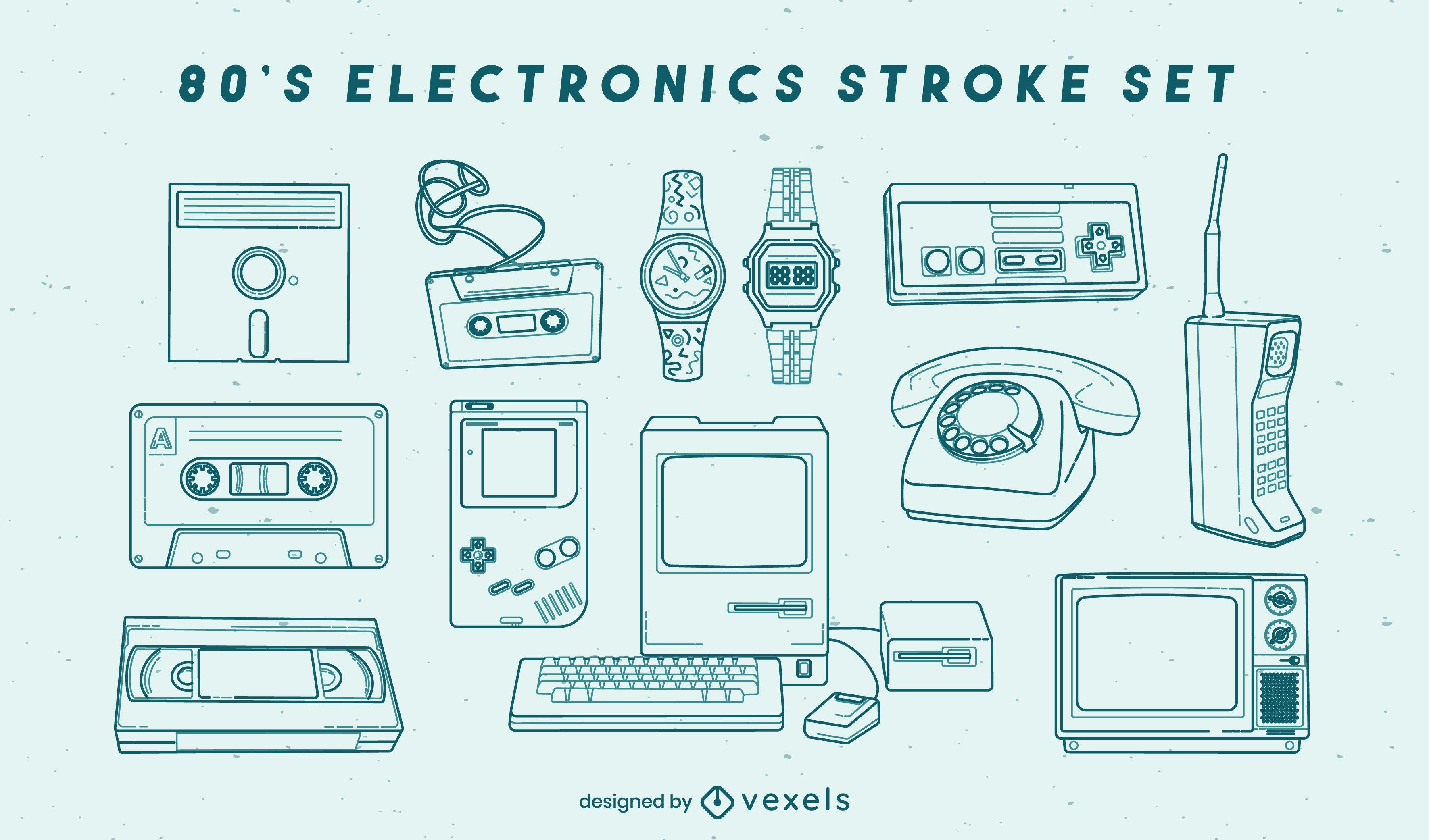 Retro electronic elements stroke set