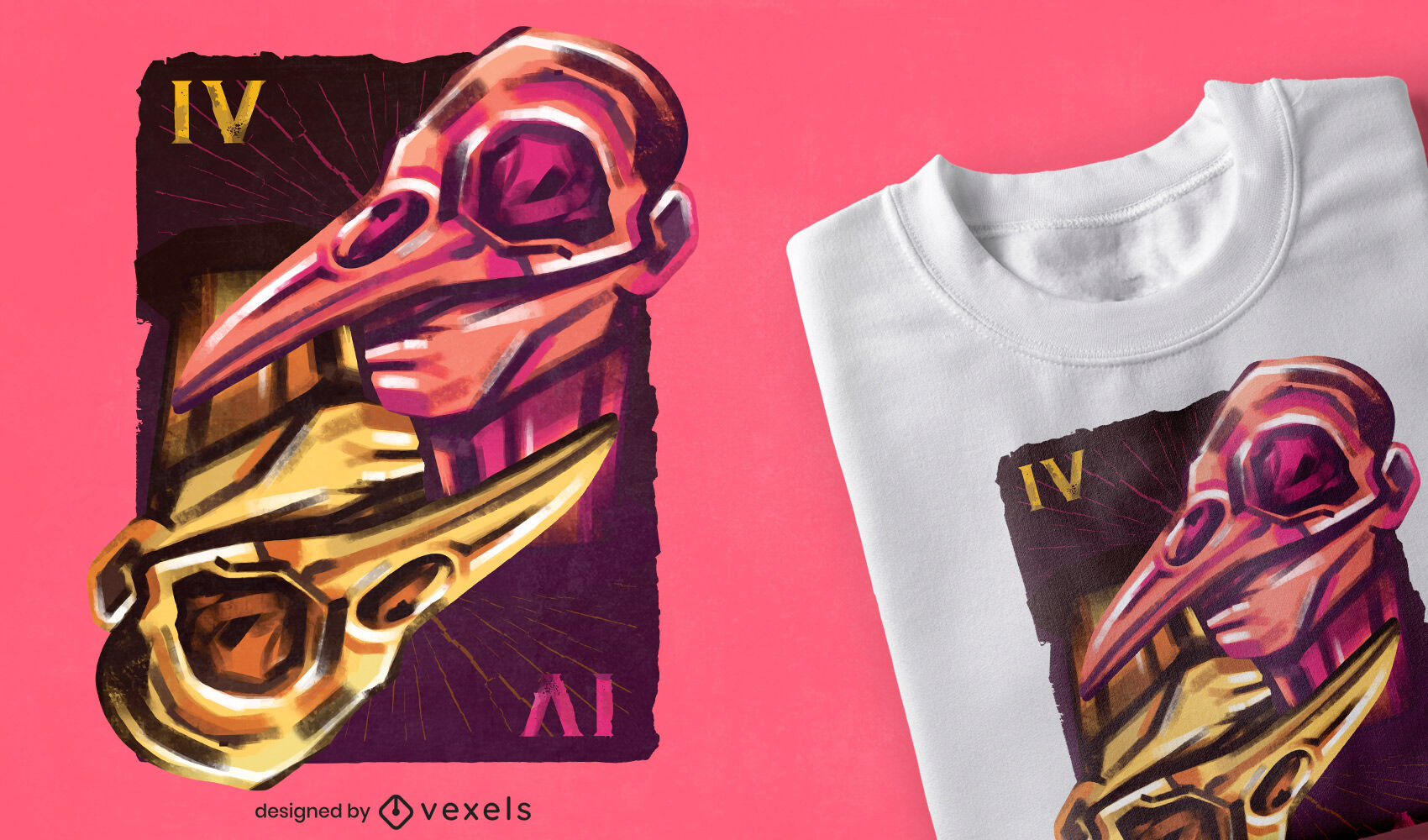 Diseño de camiseta de tarjeta de máscaras de calavera doble.