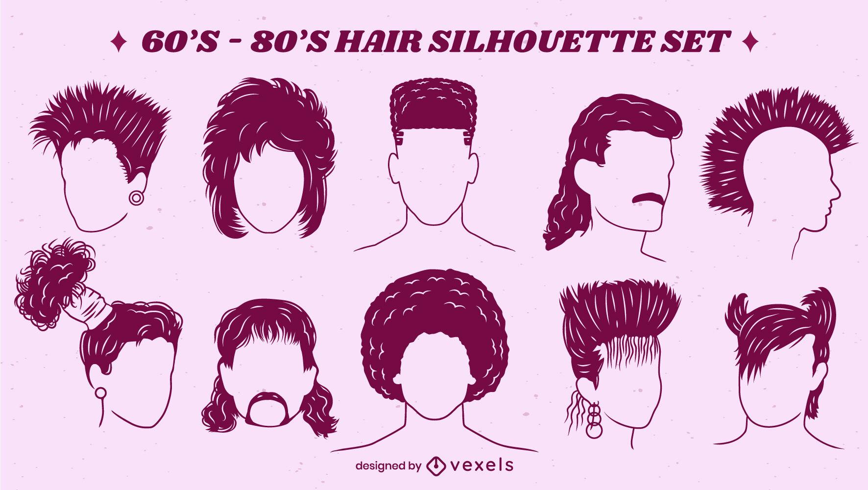 Retro 70s 80s conjunto de peinados recortados