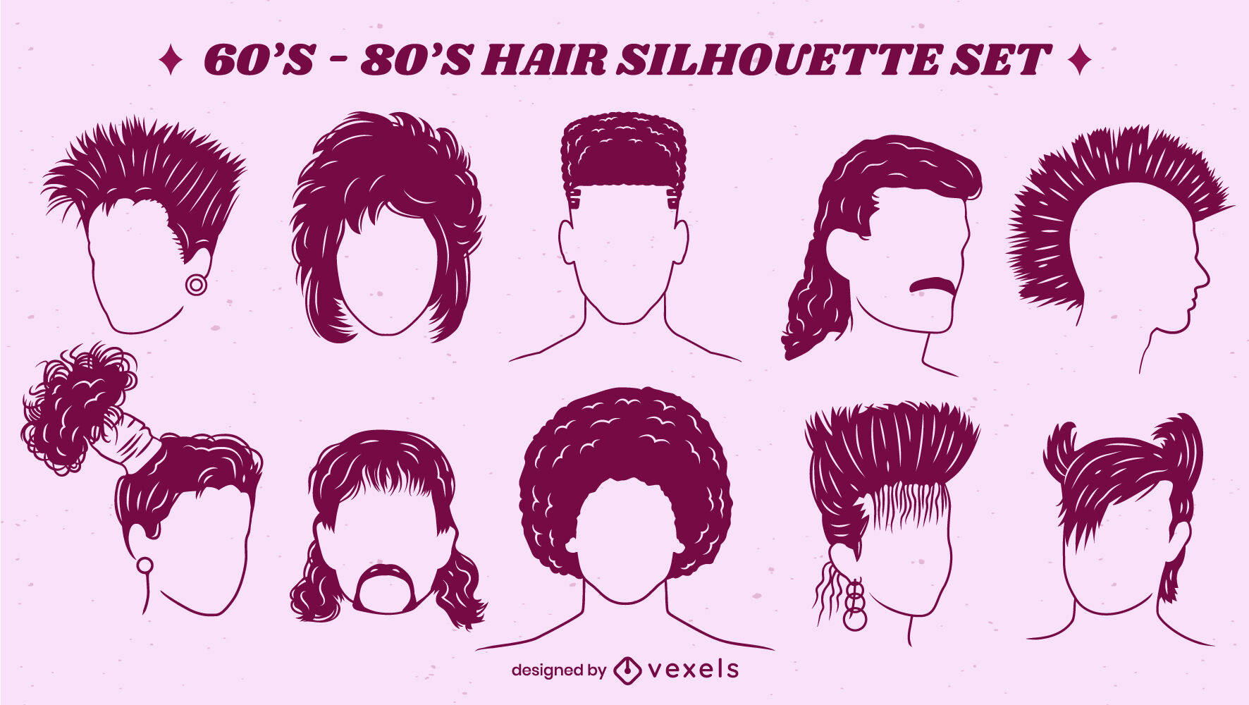 Retro 70s 80s set of hairstyles cut out