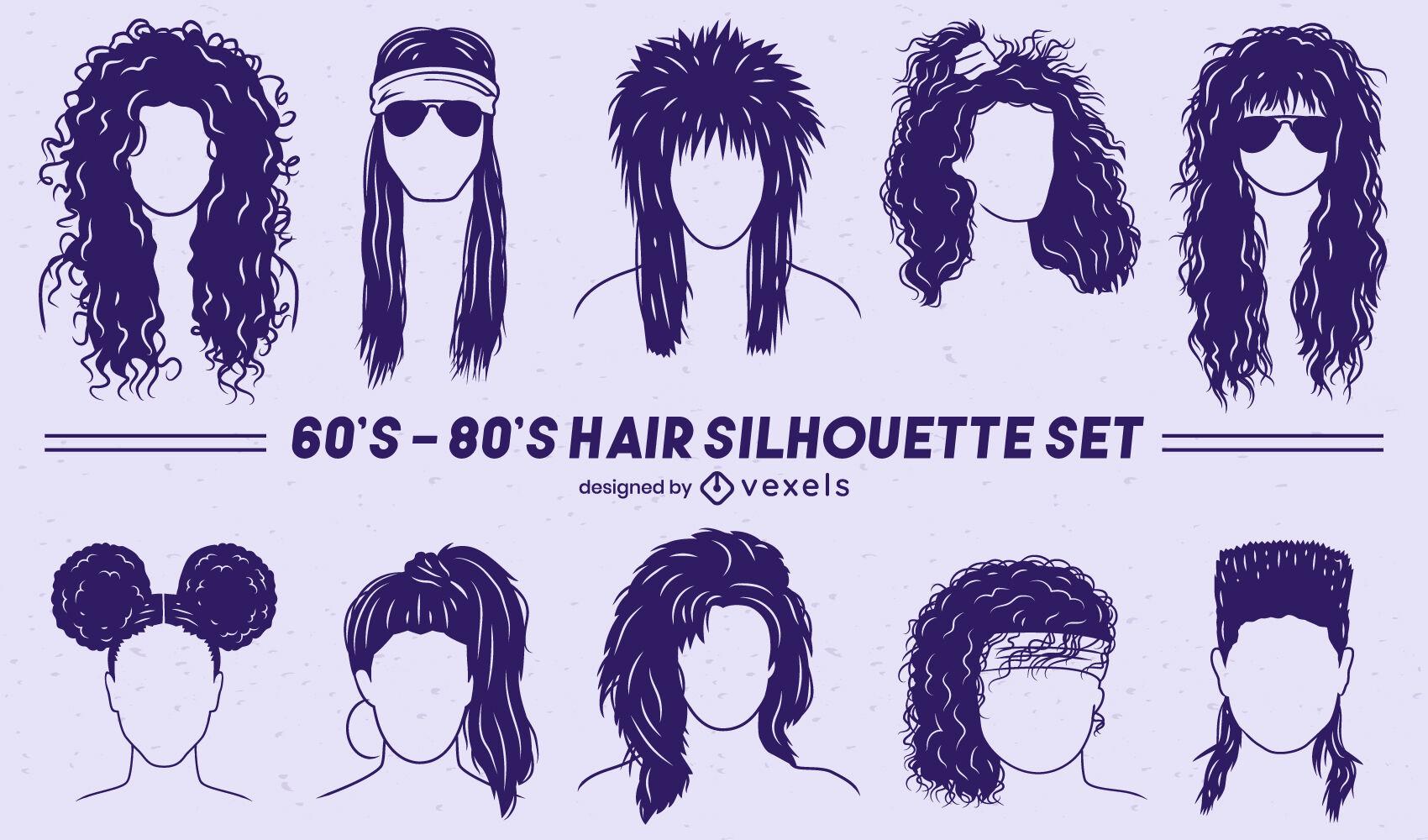 Conjunto retrô de penteados recortados