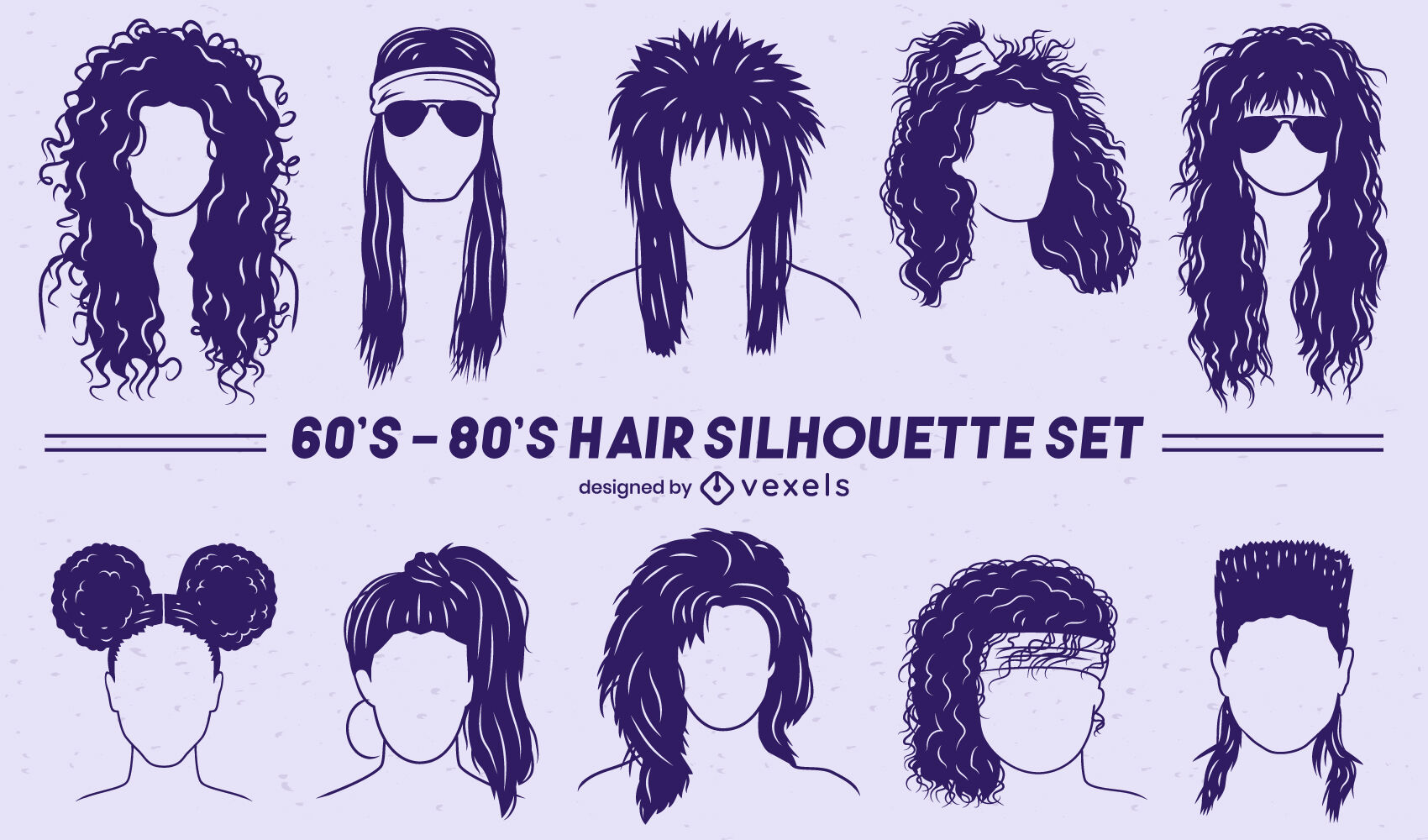 Retro set of hairstyles cut out