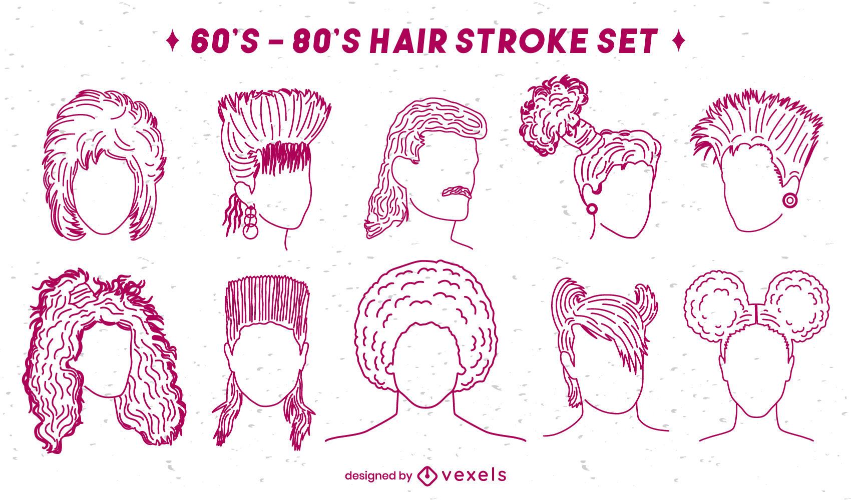 Retro 70s 80s set of hair styles stroke