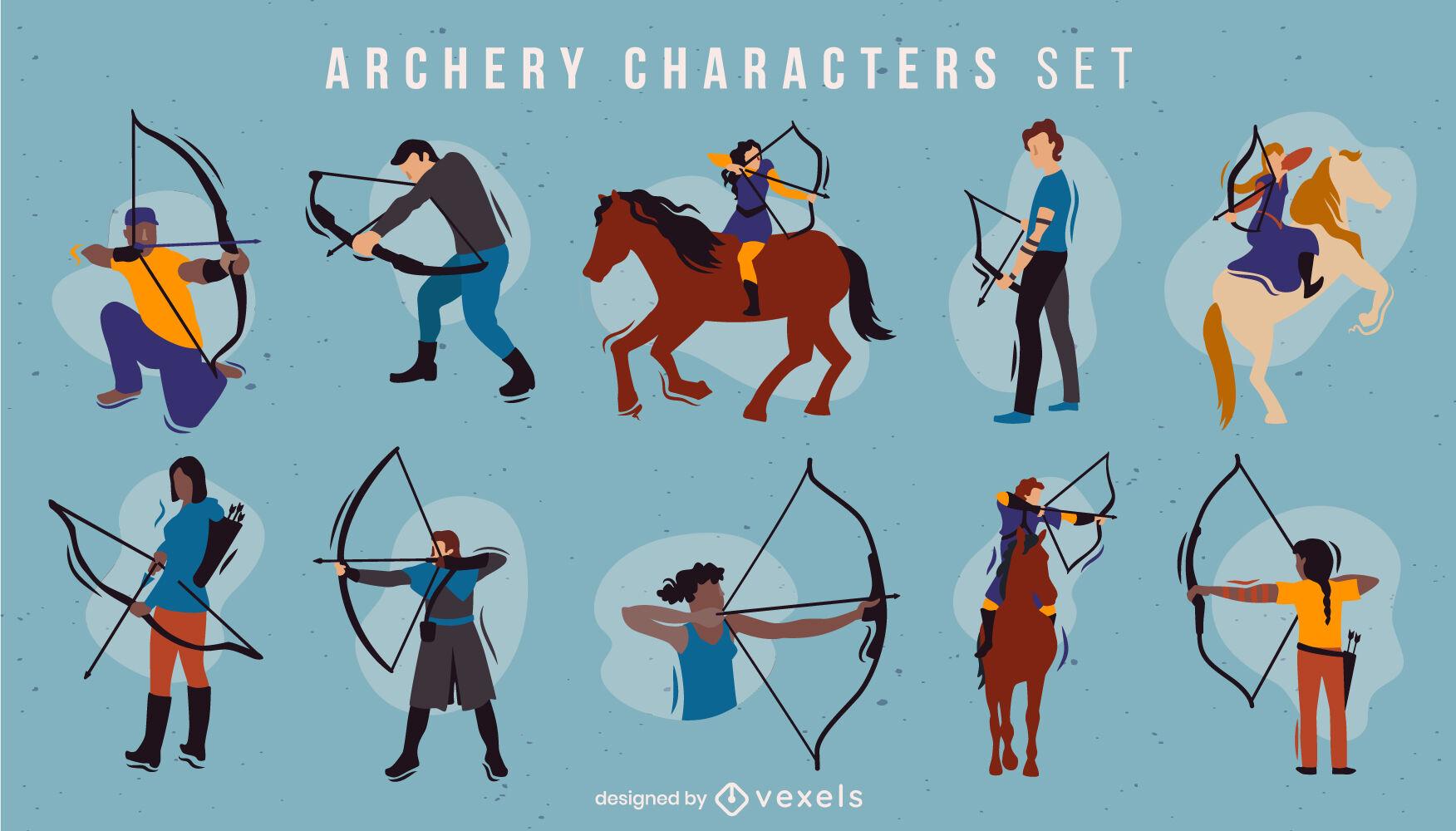 Conjunto plano de personagens de tiro com arco