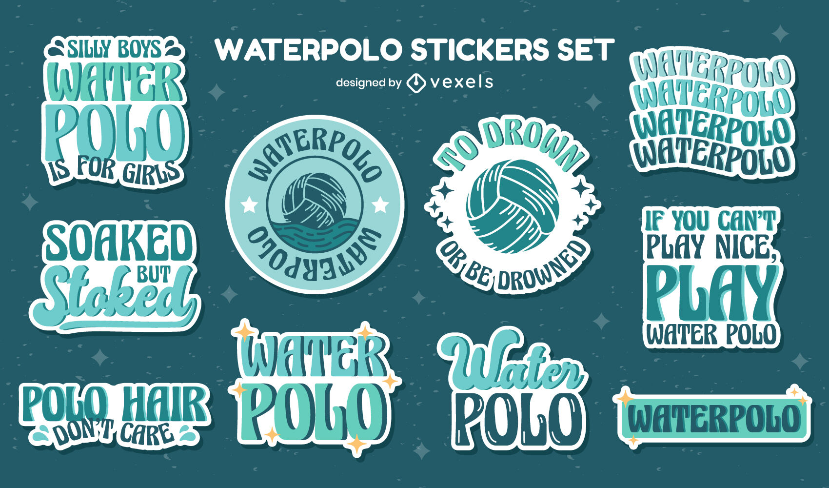 Waterpolo set of quotes stickers