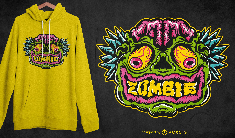 Zombie face halloween t-shirt design