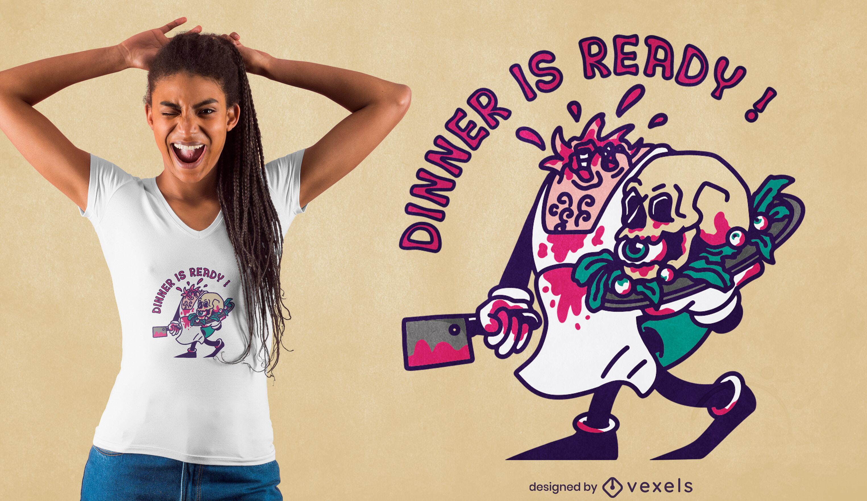 Design de camiseta do dia das bruxas cozinheiro zumbi