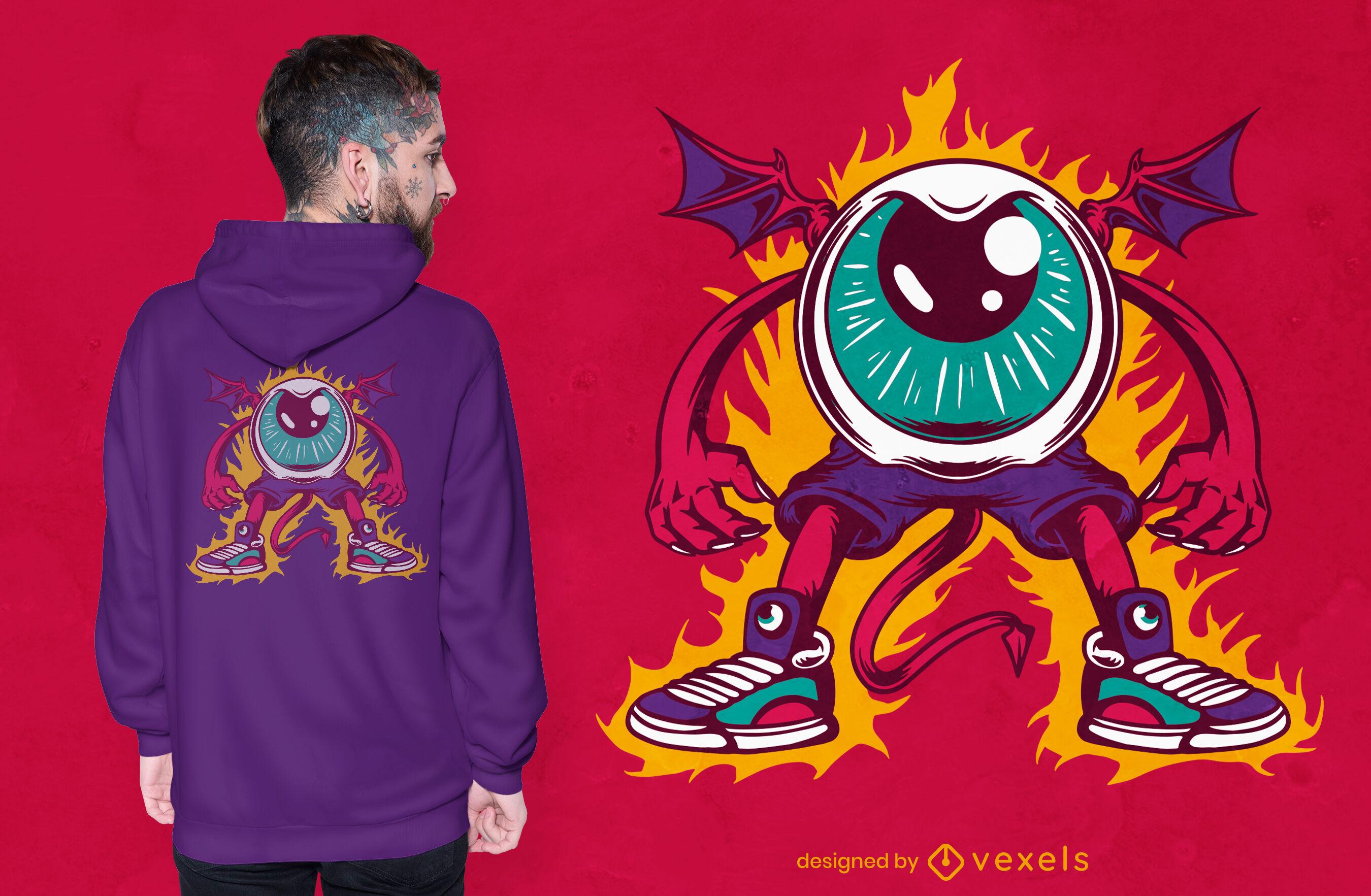 Design de t-shirt do dia das bruxas com criatura olho do diabo