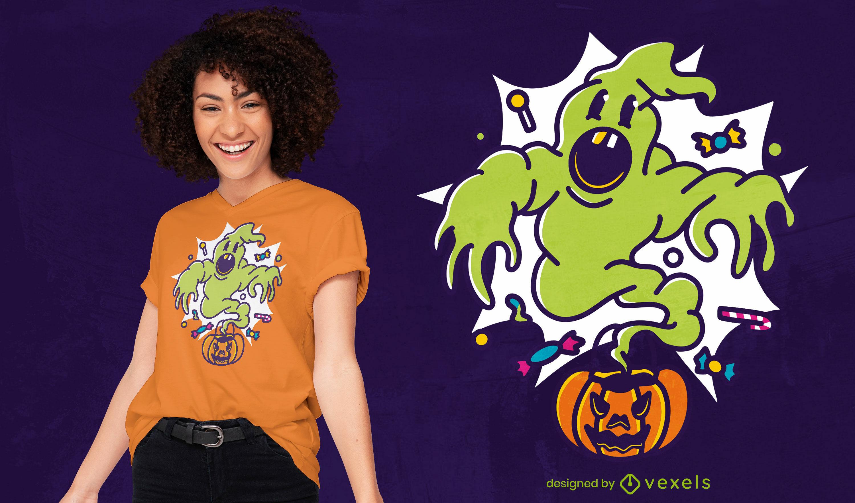 Camiseta de halloween de calabaza fantasma de dibujos animados