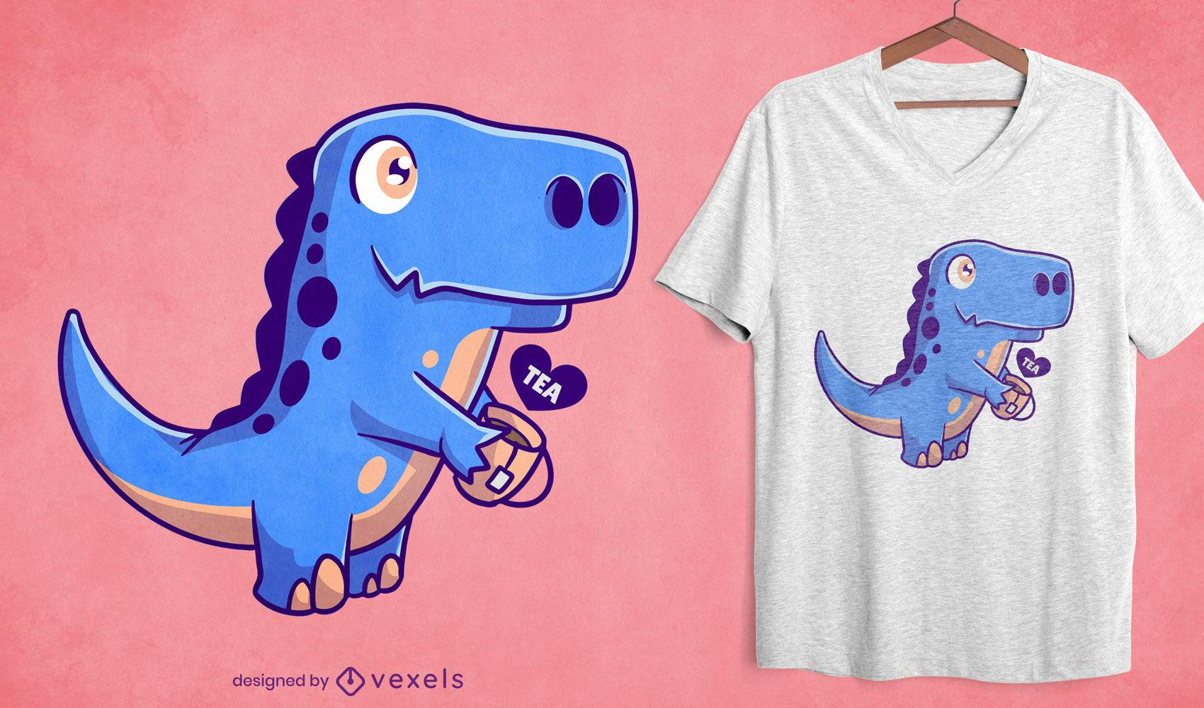 Dinosaur with tea t-shirt design