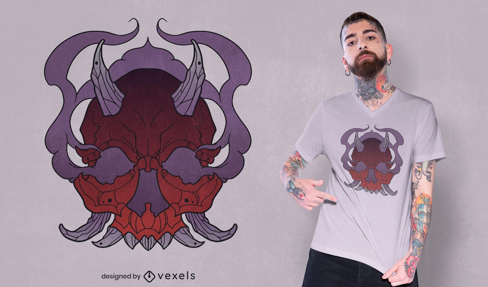 Diseño de camiseta de calavera demonio halloween