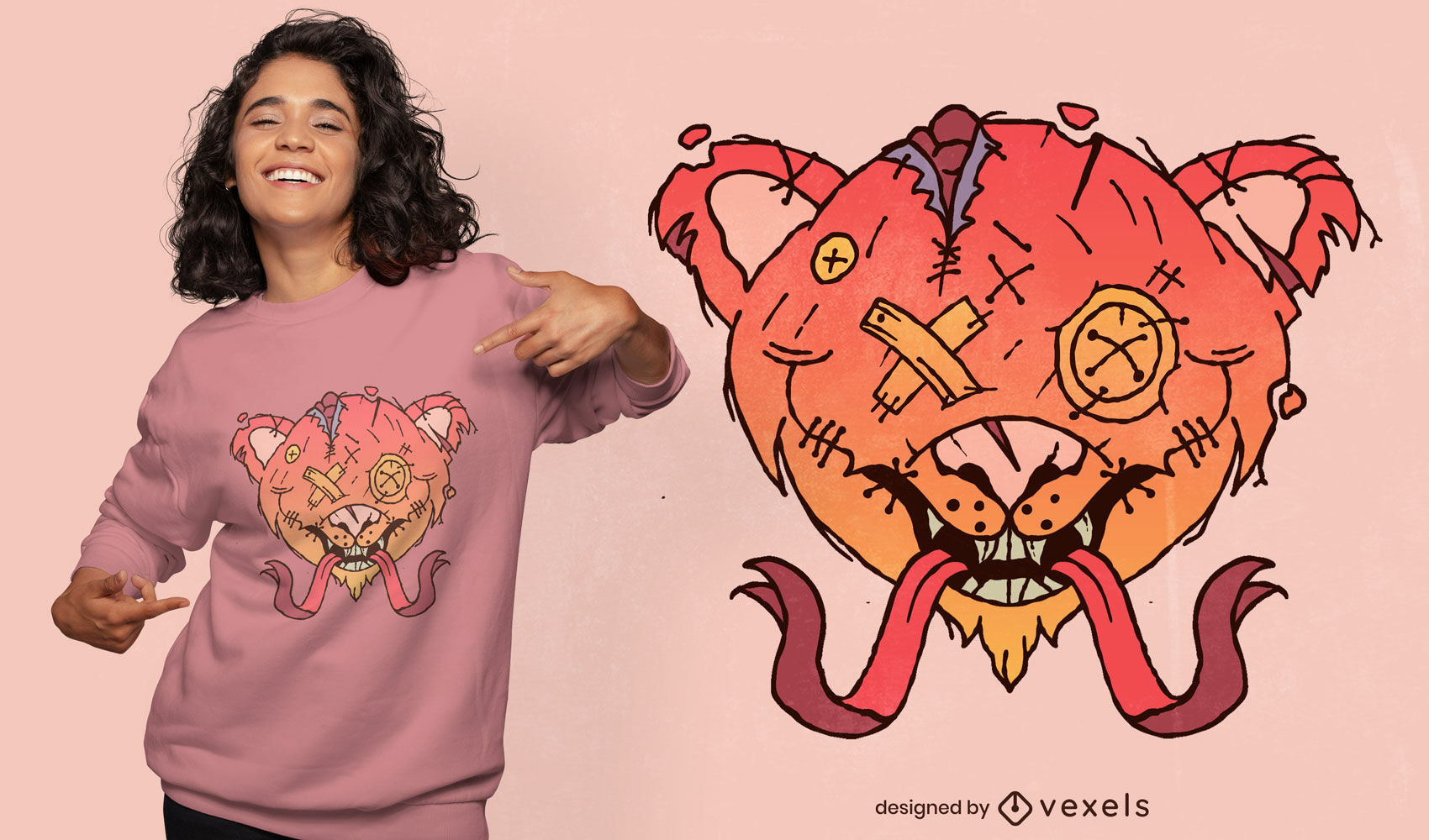 Diseño de camiseta de oso de peluche espeluznante de Halloween