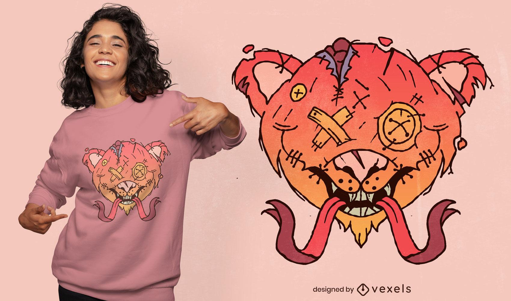 Halloween creepy teddy bear t-shirt design