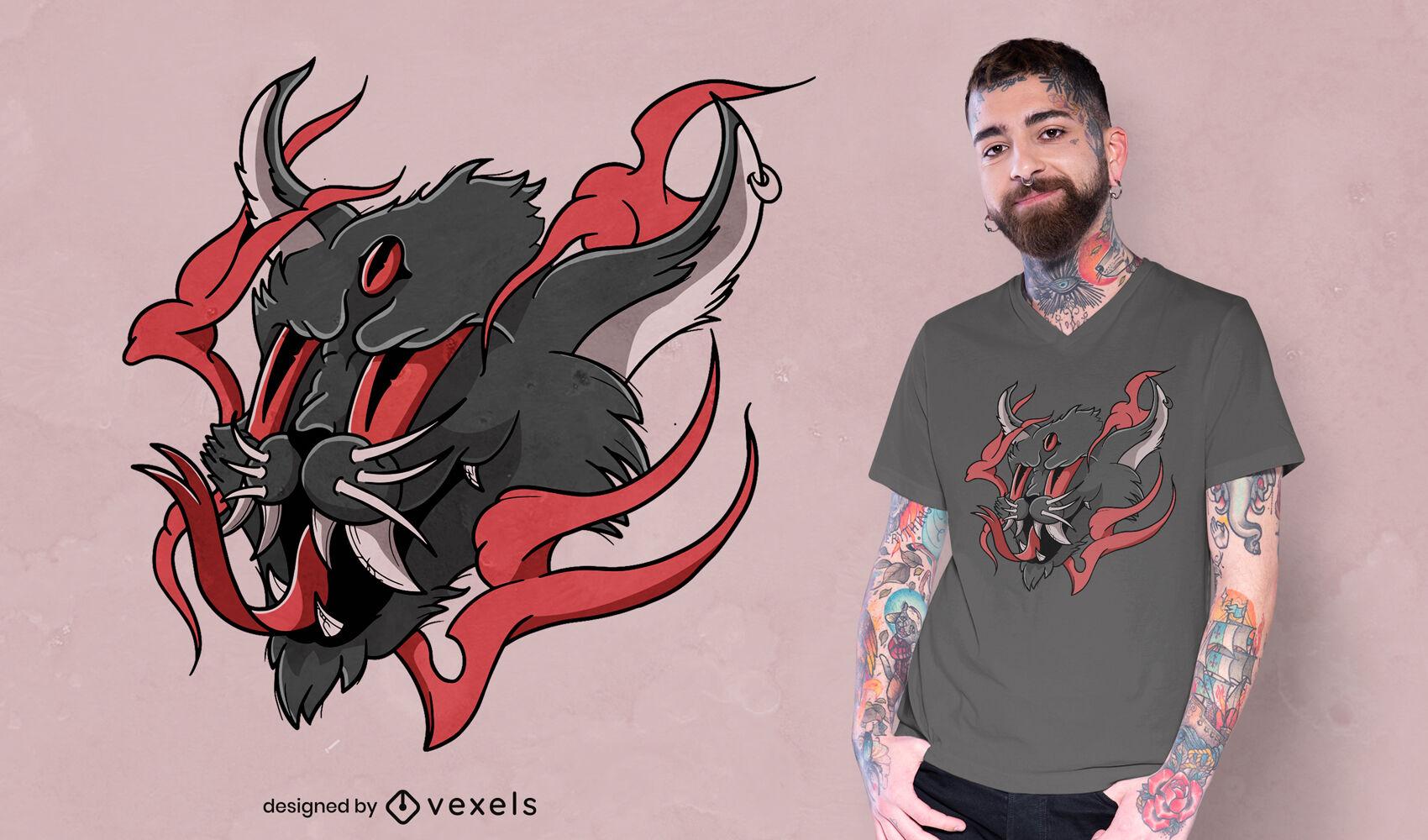 Halloween demon cat t-shirt design