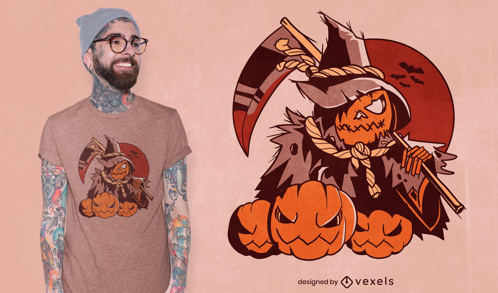 Design de t-shirt do Dia das Bruxas do Ceifador Abóbora