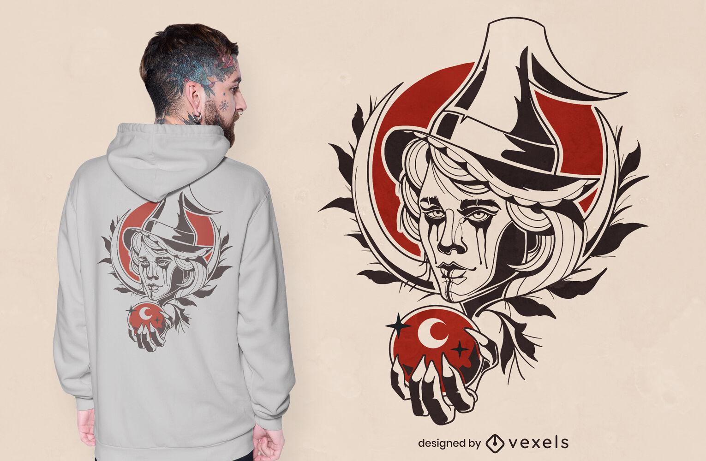Design de camiseta bruxa da temporada de Halloween