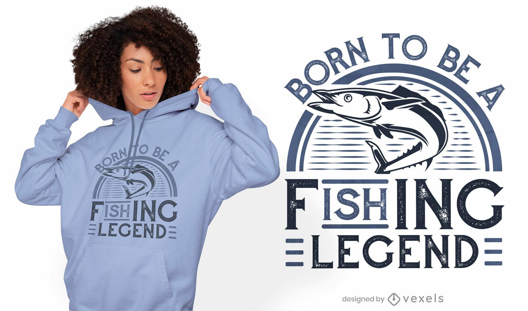 Design de camisetas de lenda da pesca