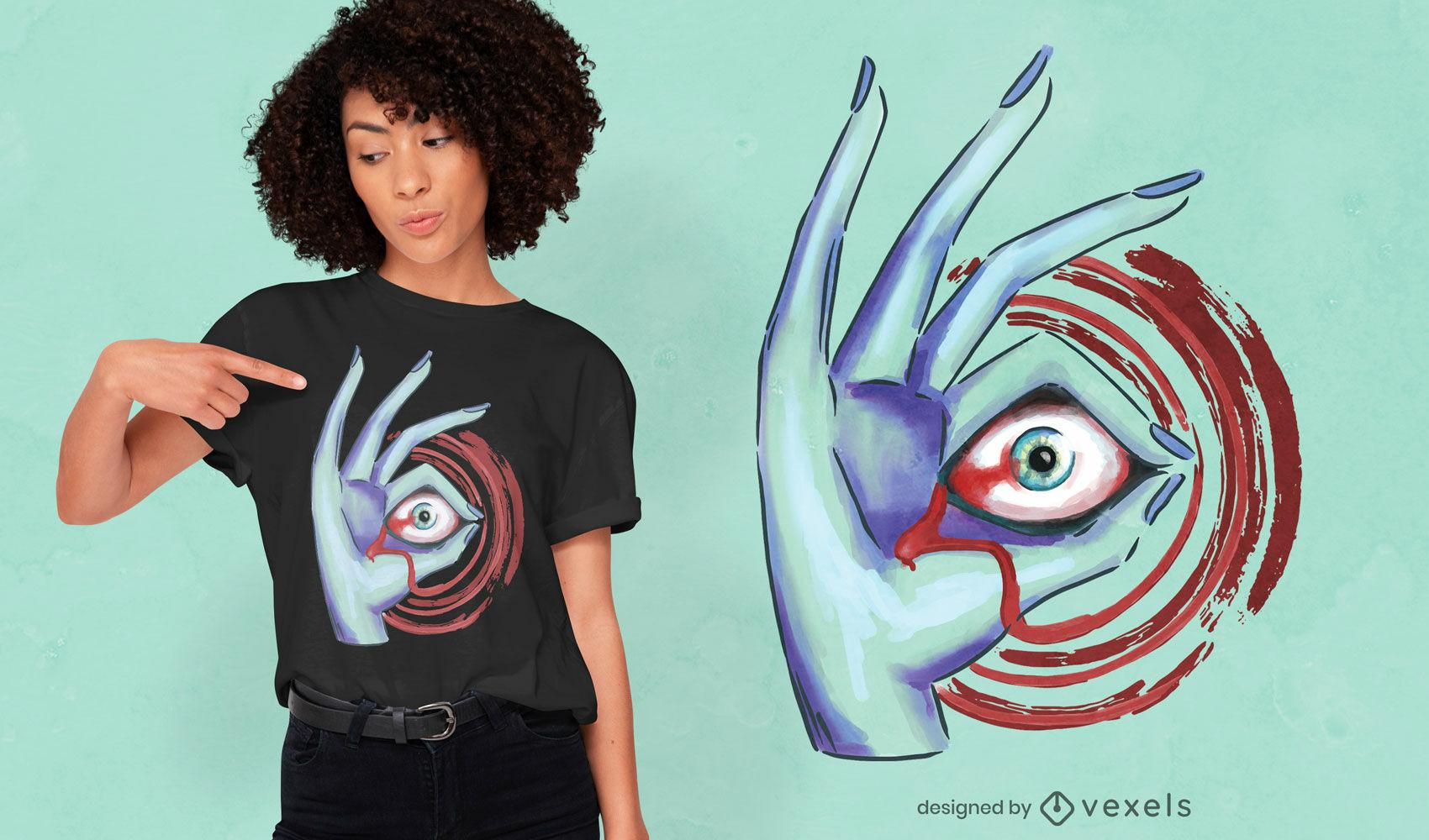 Diseño de camiseta de halloween ojo en mano