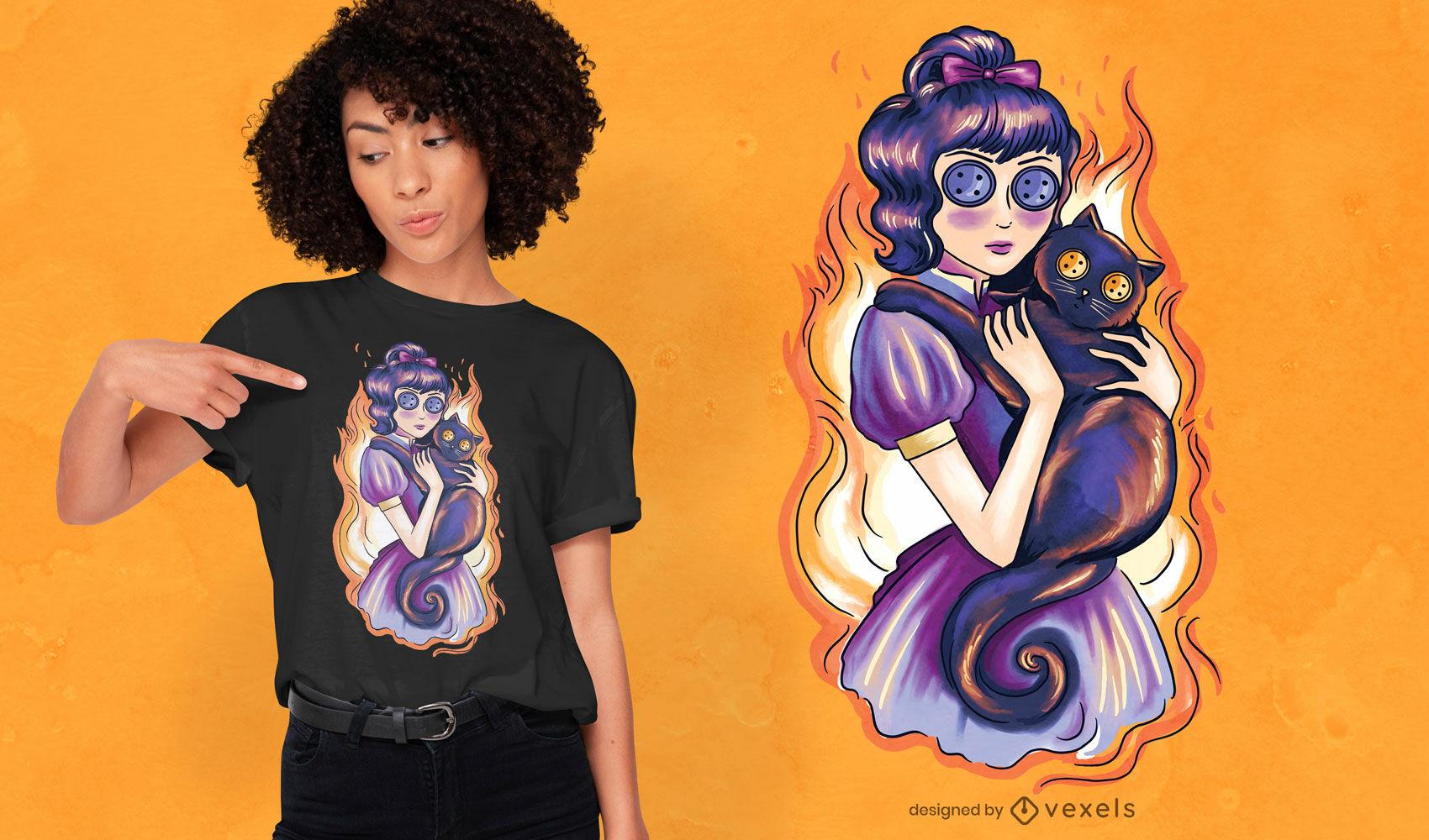 Gruseliges Mädchen und Katze auf Feuer T-Shirt-Design