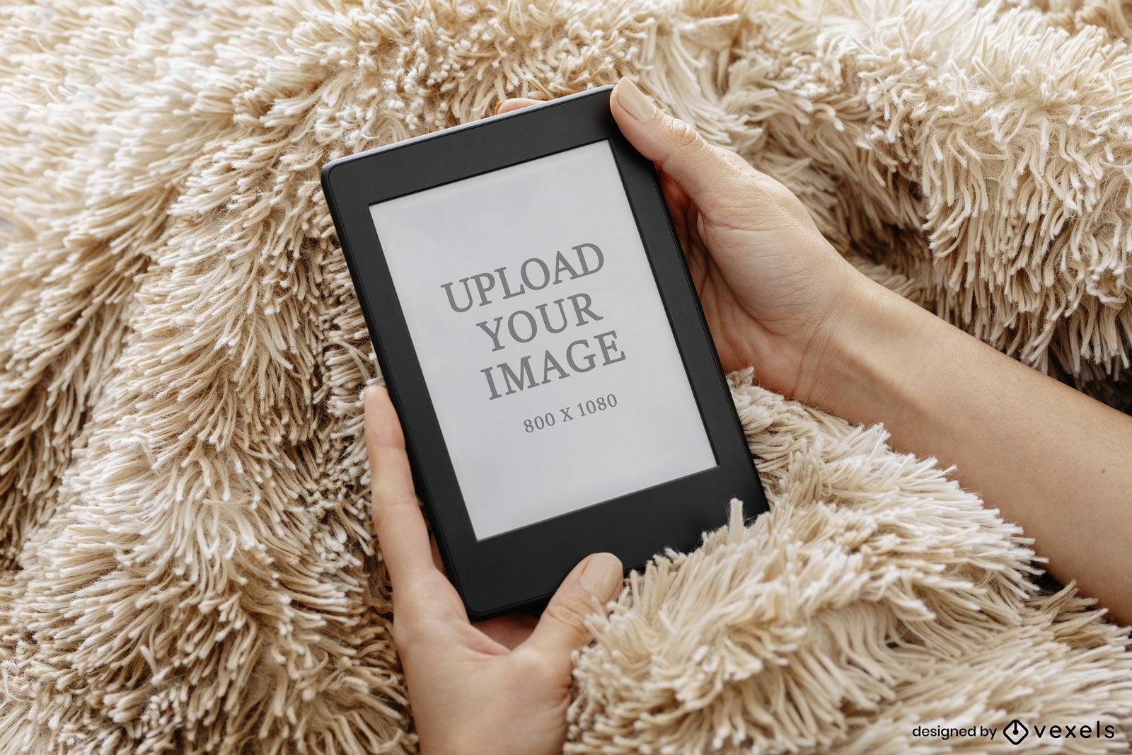 Kindle mockup fuzzy blanket