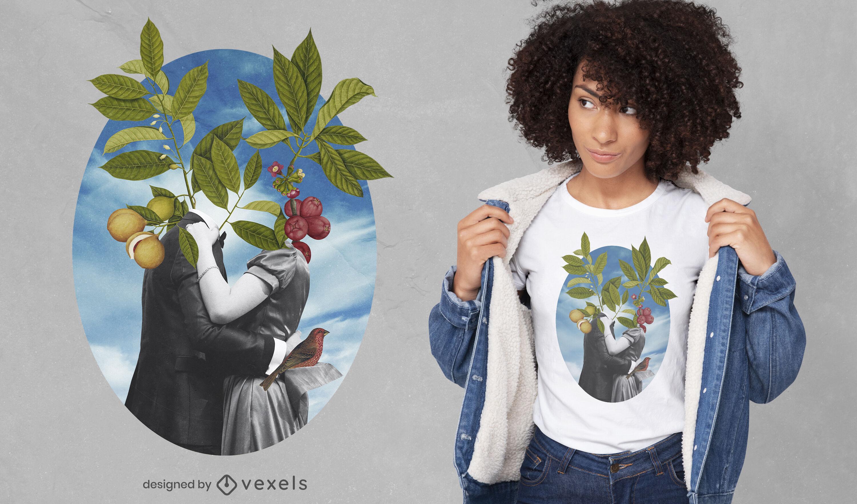 Pareja enamorada plantas naturaleza camiseta psd