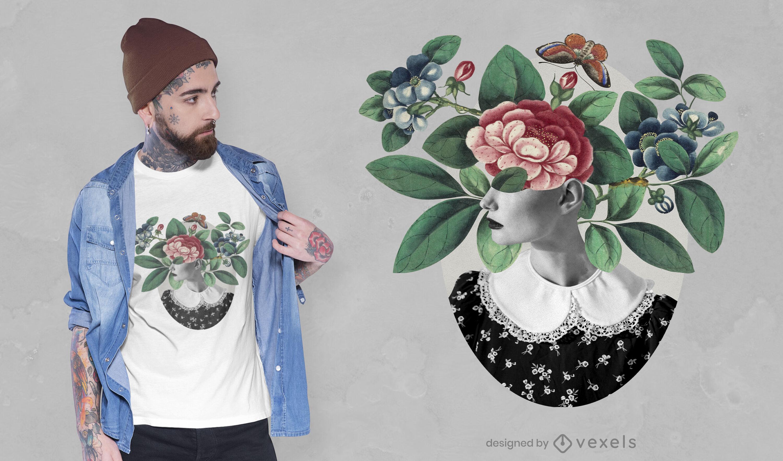 Camiseta de naturaleza realista con rostro de mujer psd