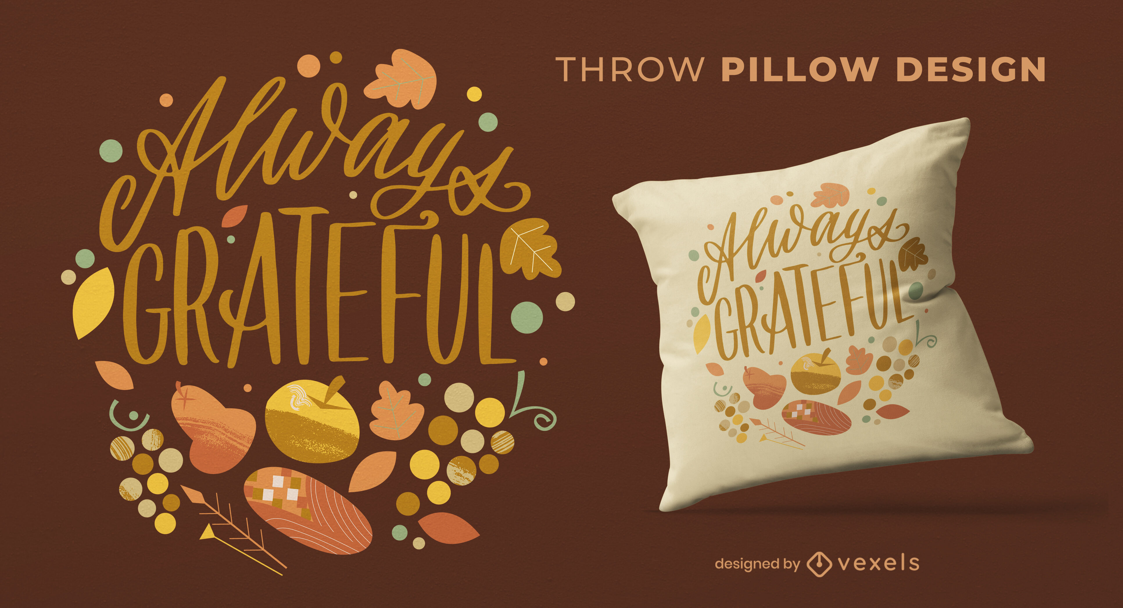Grateful thanksgiving quote throw pillow