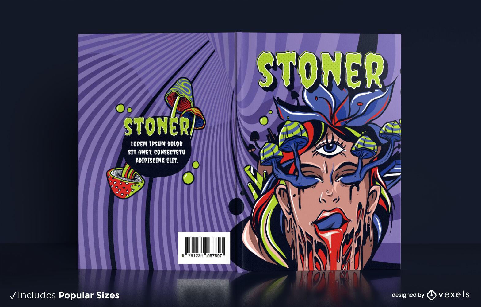Design de capa de livro de alucinações psicodélicas