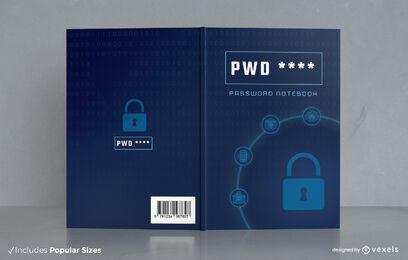 Diseño de portada de libro de cuaderno de ciberseguridad