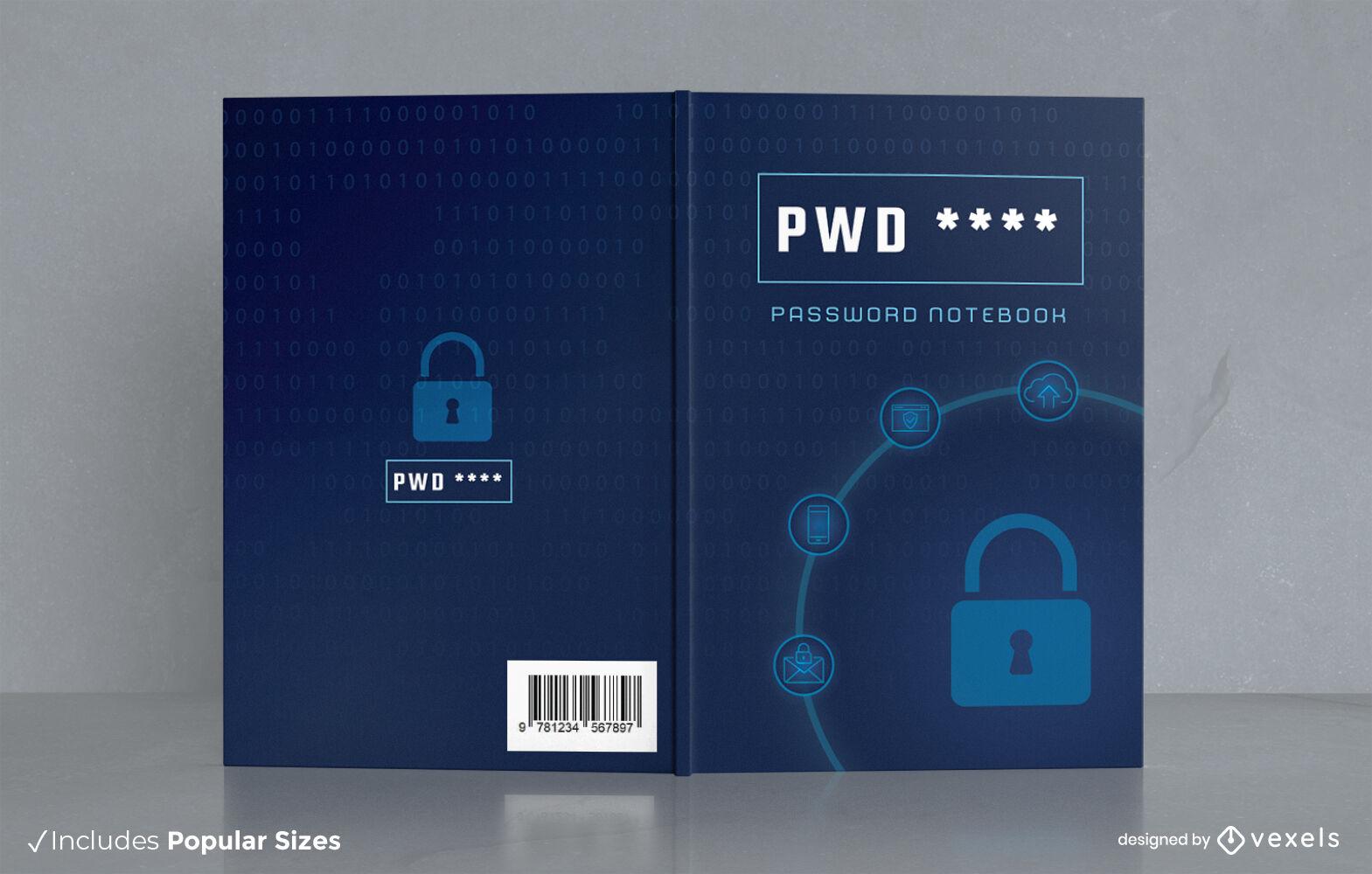 Design des Buchcovers für Cybersicherheits-Notizbücher