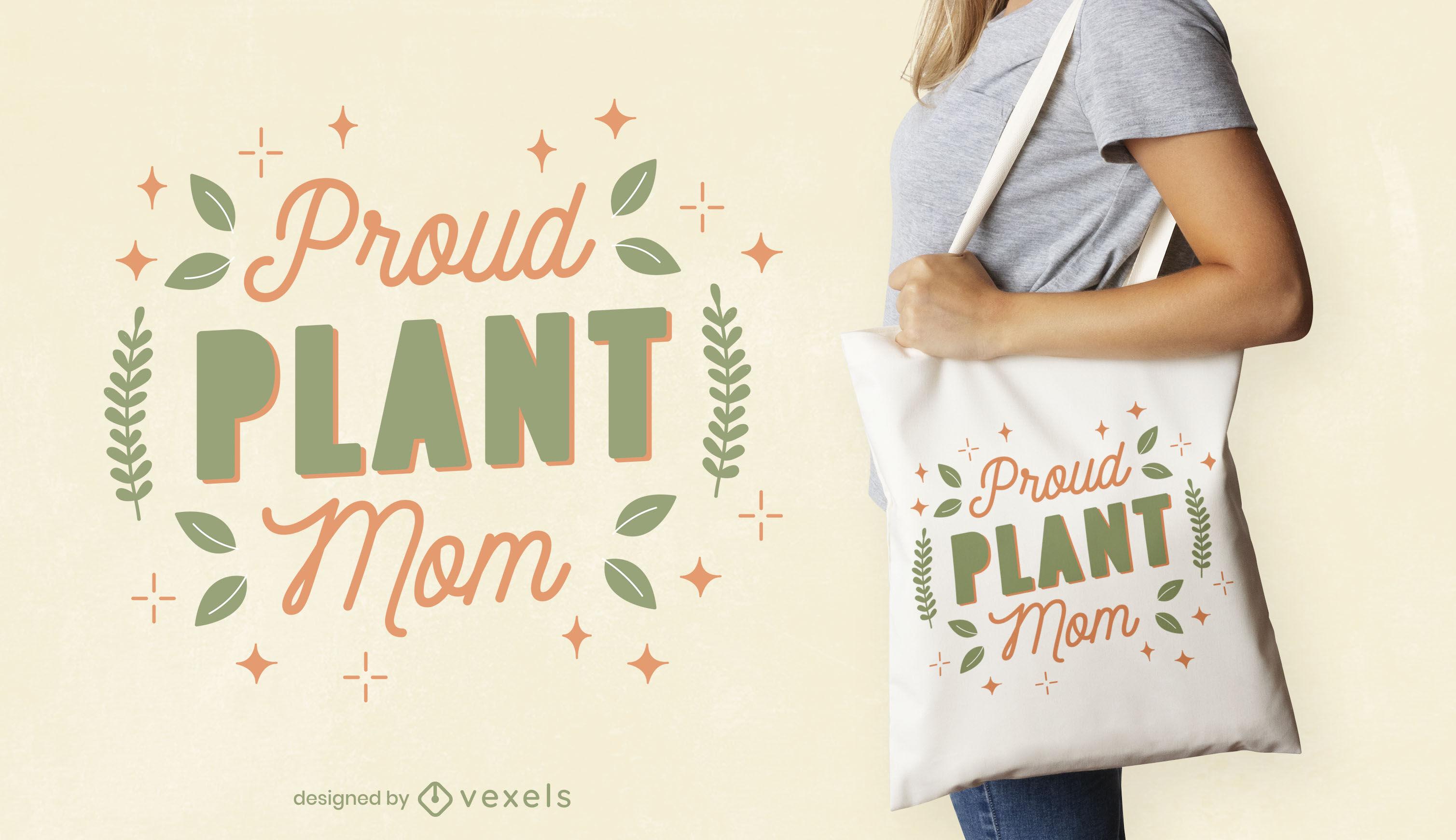 Diseño de bolsa de asas orgullosa de la mamá de la planta