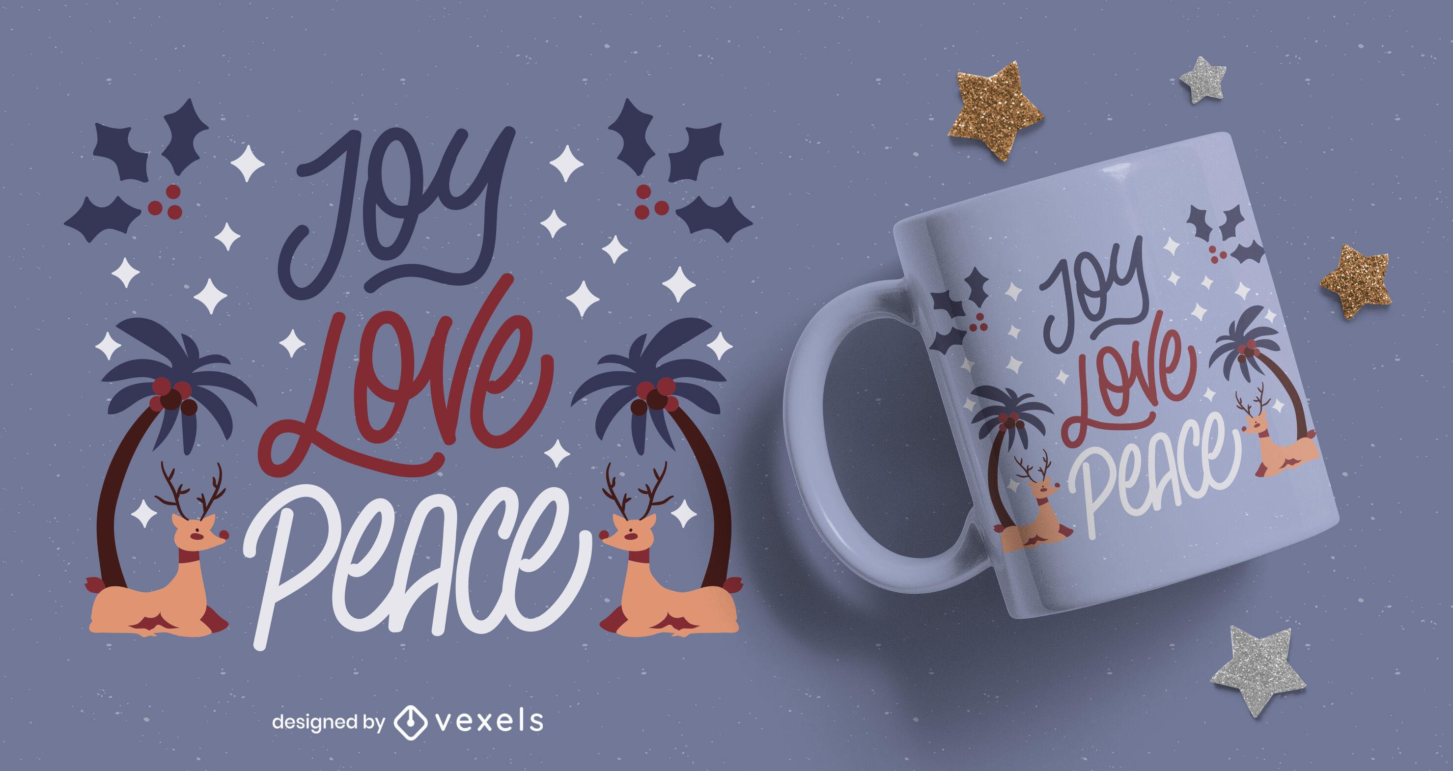 Design de letras de caneca de alegria, amor e paz