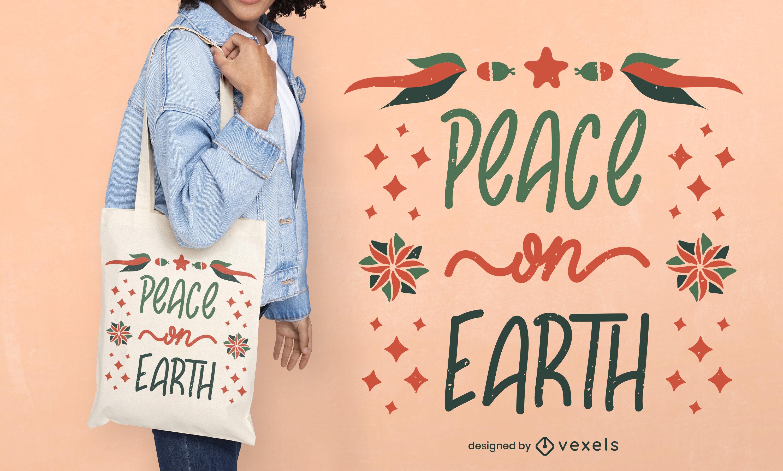 Peace on earth tote bag design