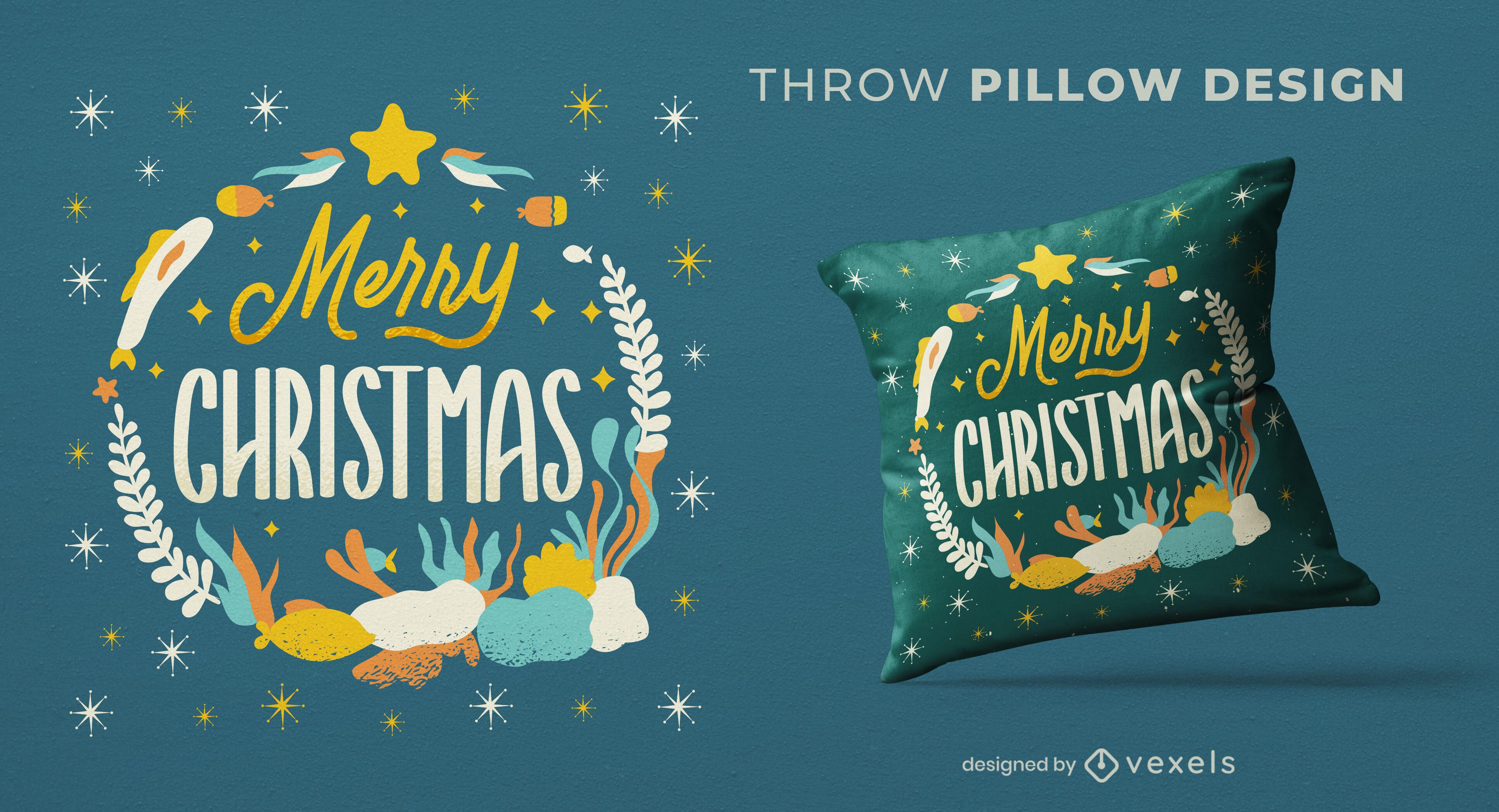 Merry christmas underwater throw pillow