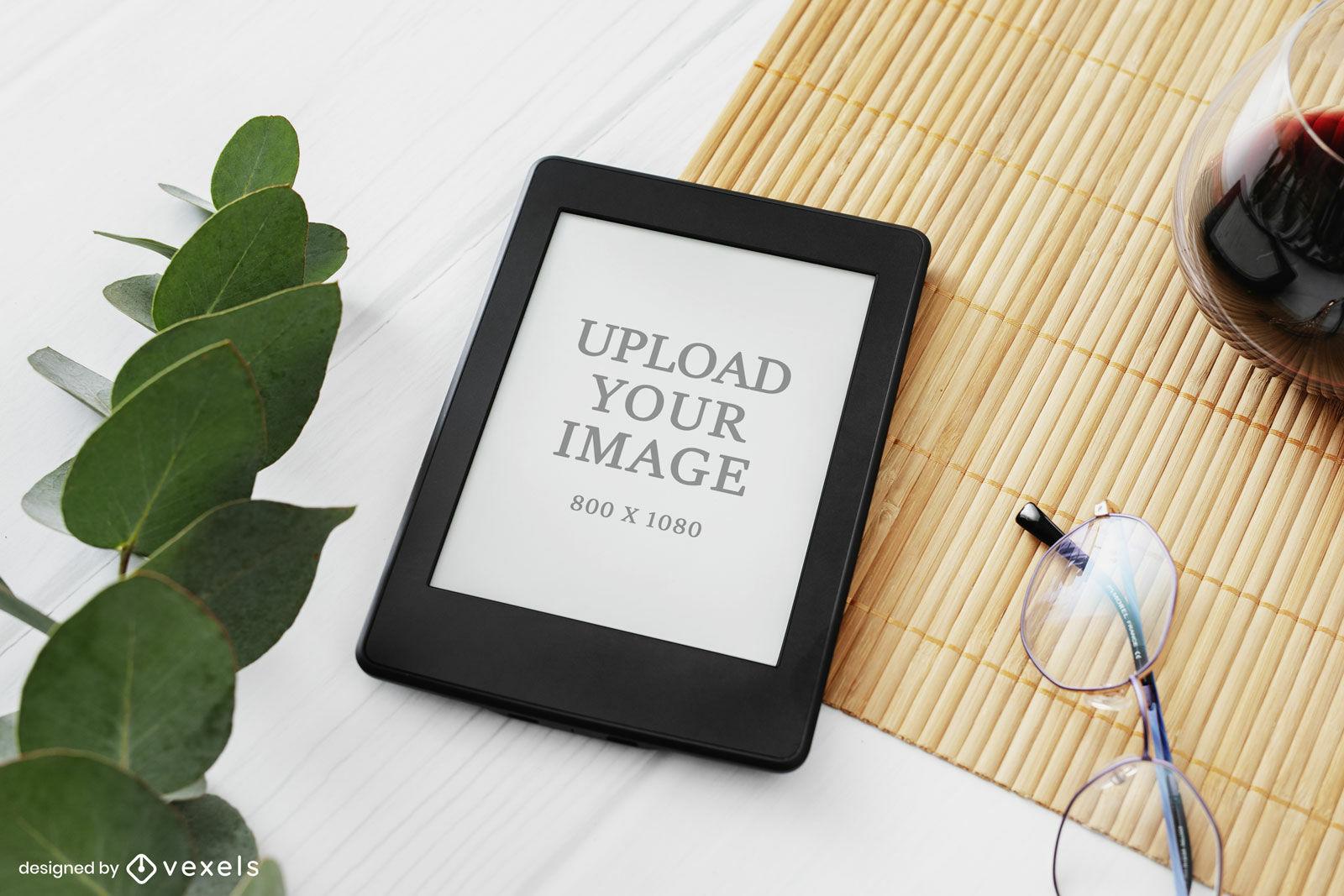 Kindle mockup table and leaves