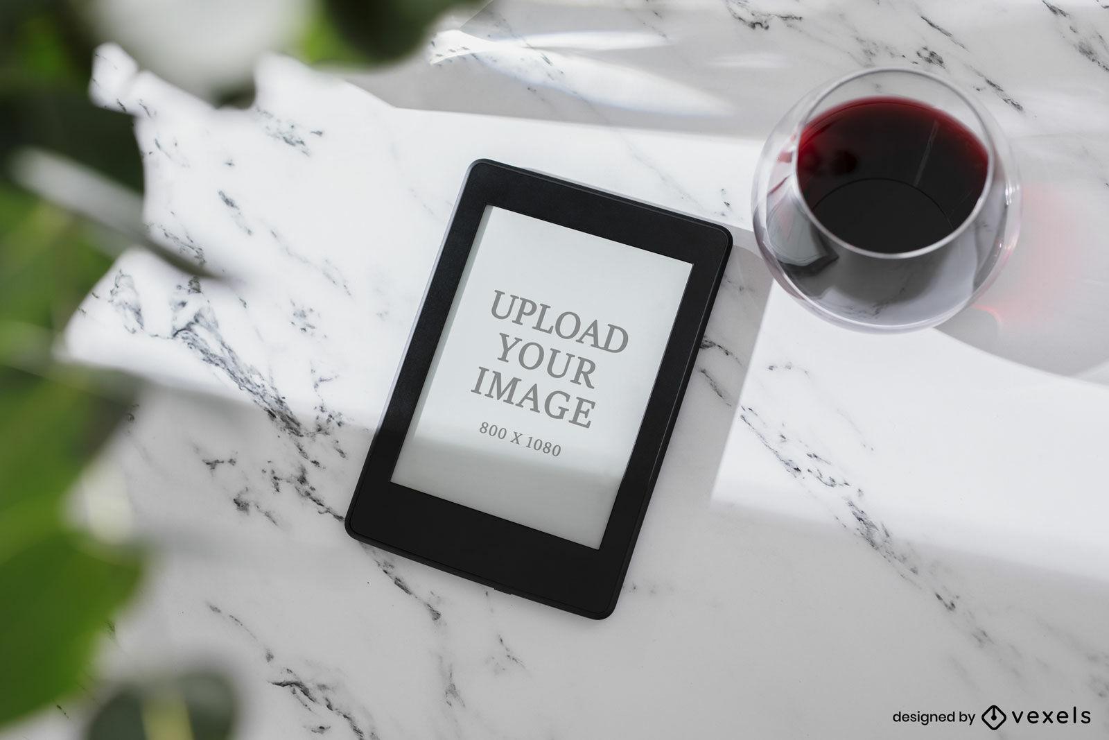 Kindle mockup marble surface