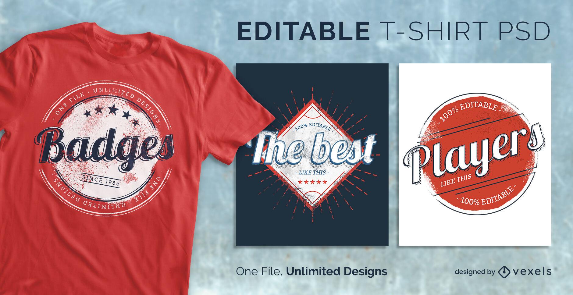 T-shirt escal?vel com emblemas desportivos vintage psd