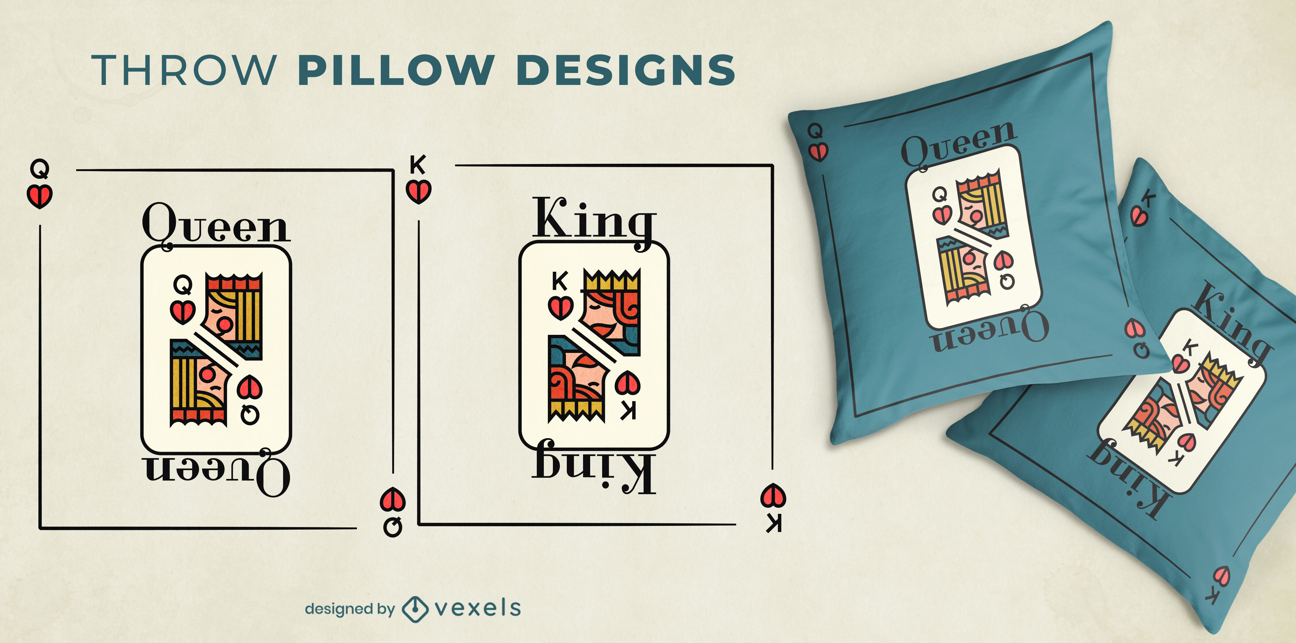 King & Queen cards pair of throw pillows