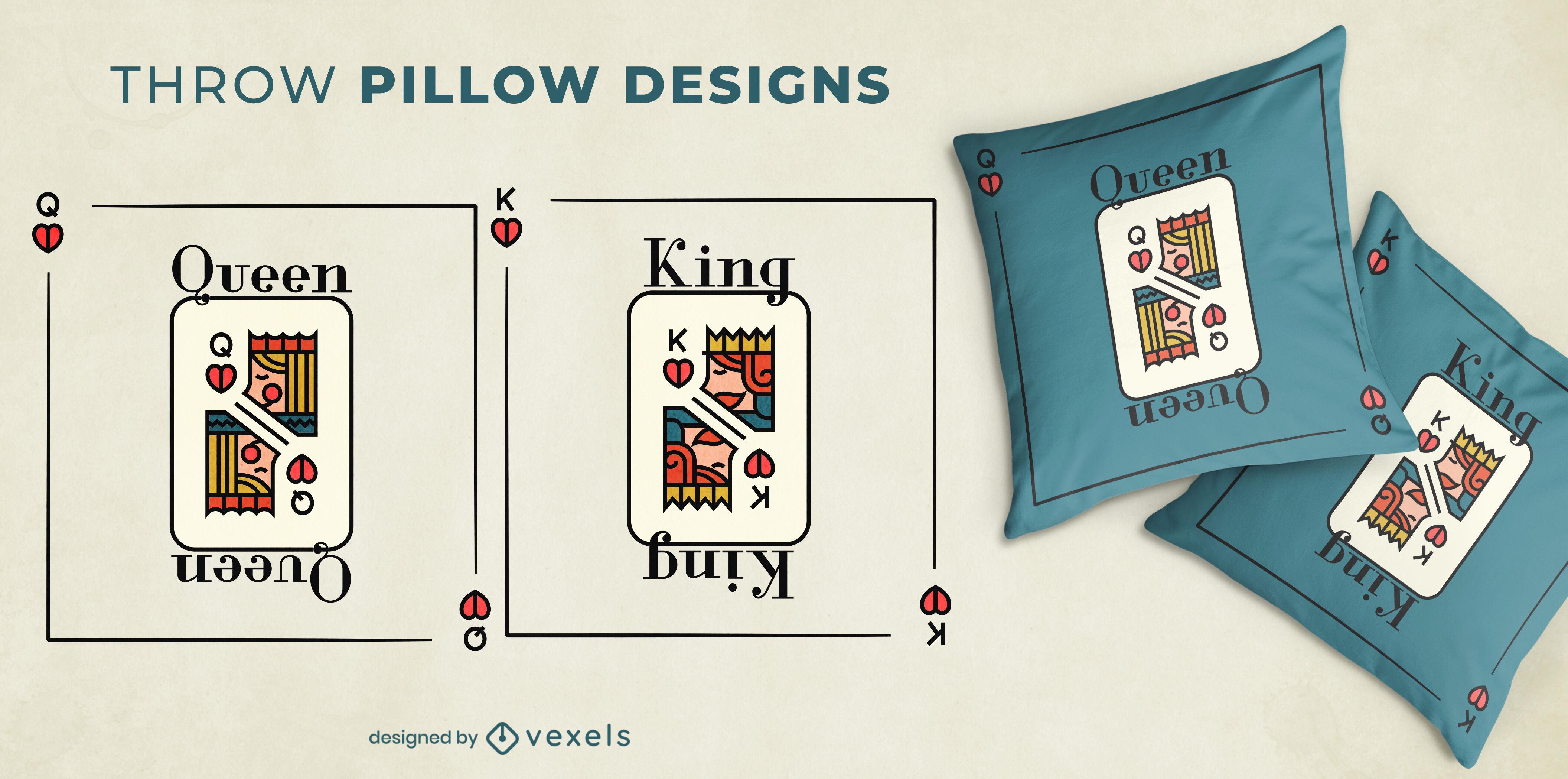 Tarjetas de rey y reina par de cojines