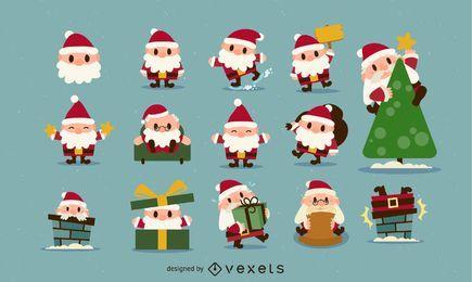 Natal Santa Icon Set