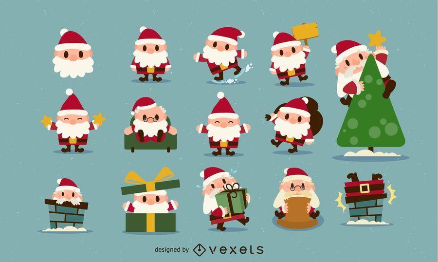 Christmas Santa Icon Set