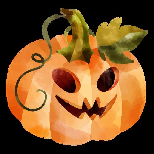 Halloween carved pumpkin watercolor