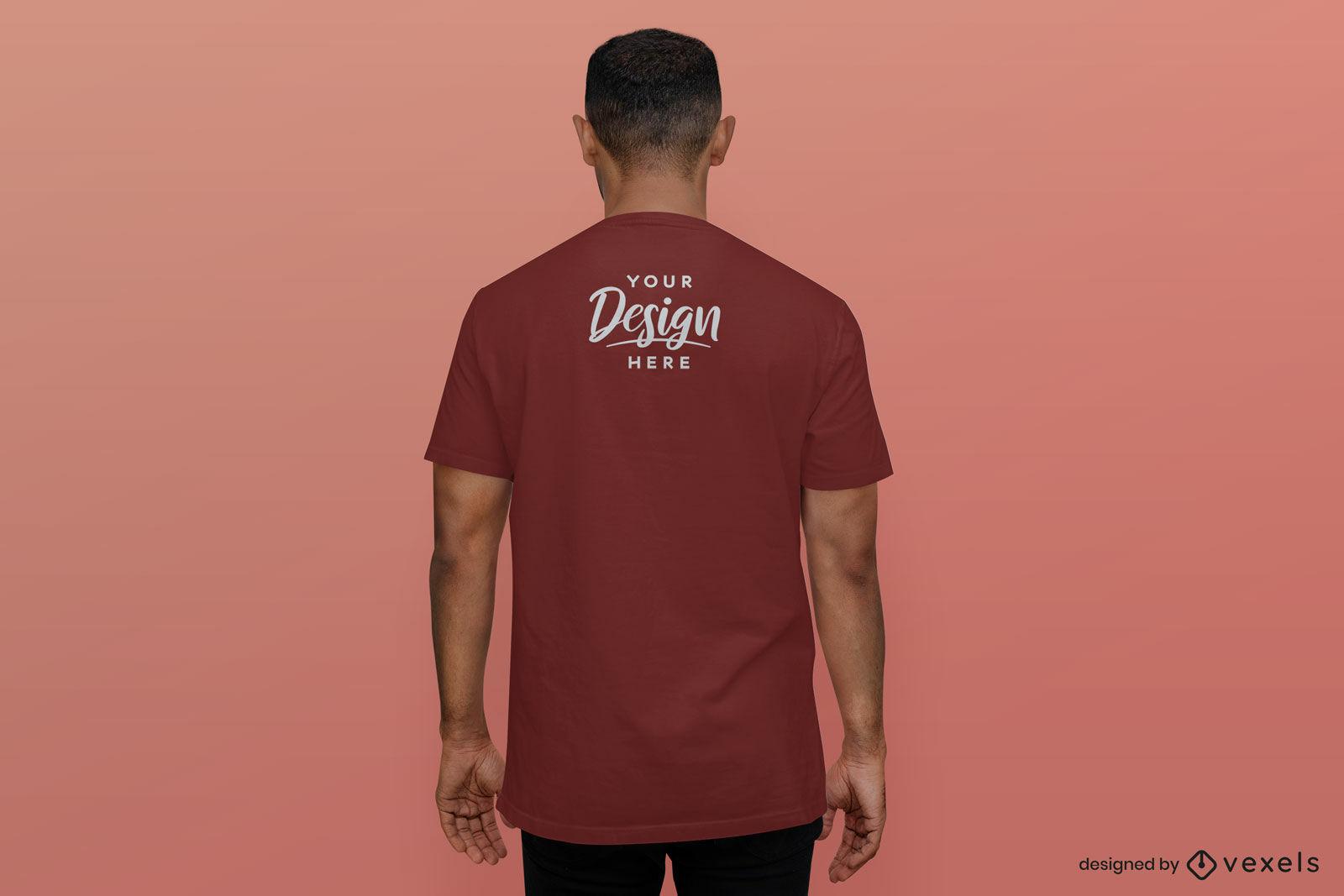 Male t-shirt mockup backwards red background