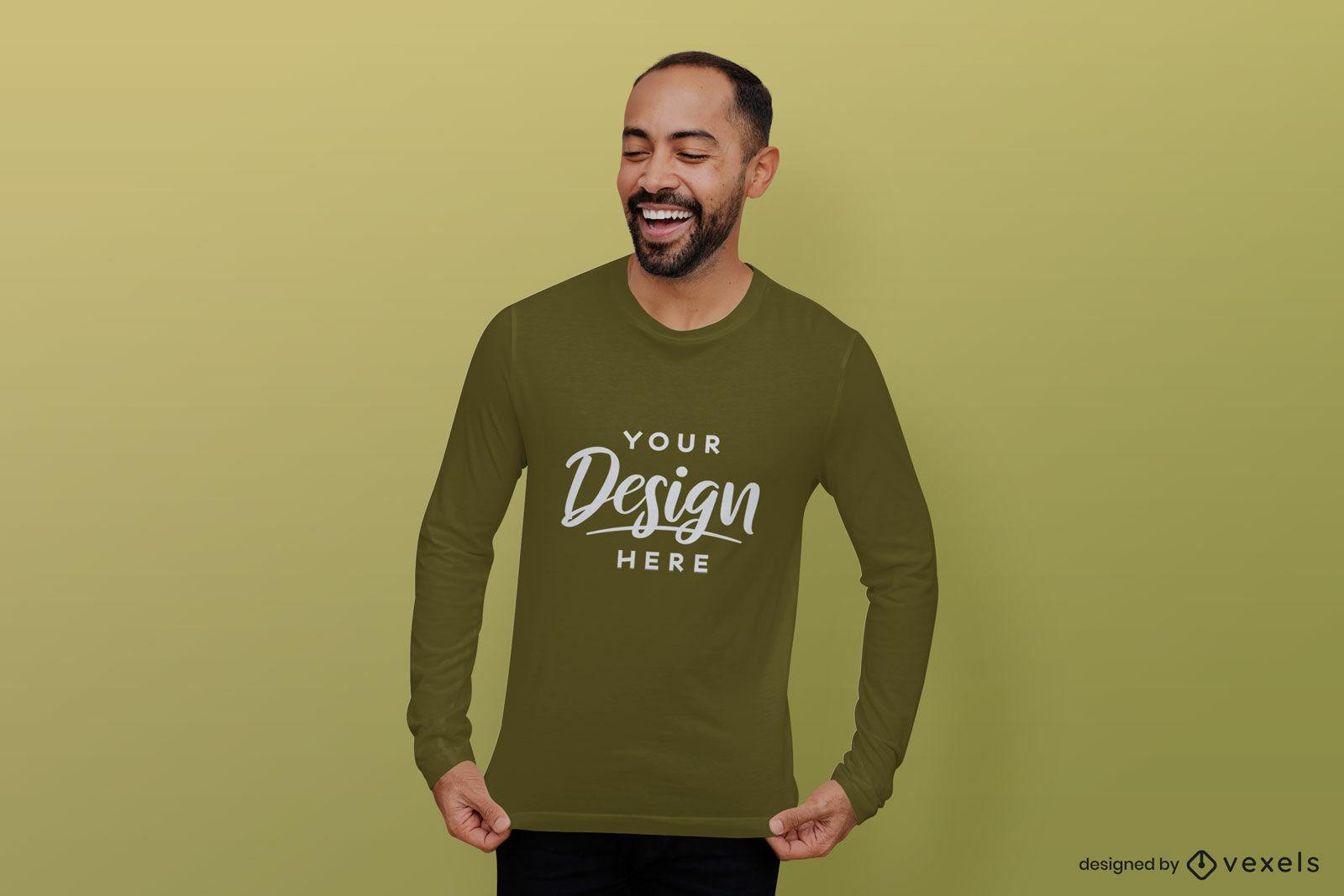 Maquete de camiseta masculina camisa verde fundo verde