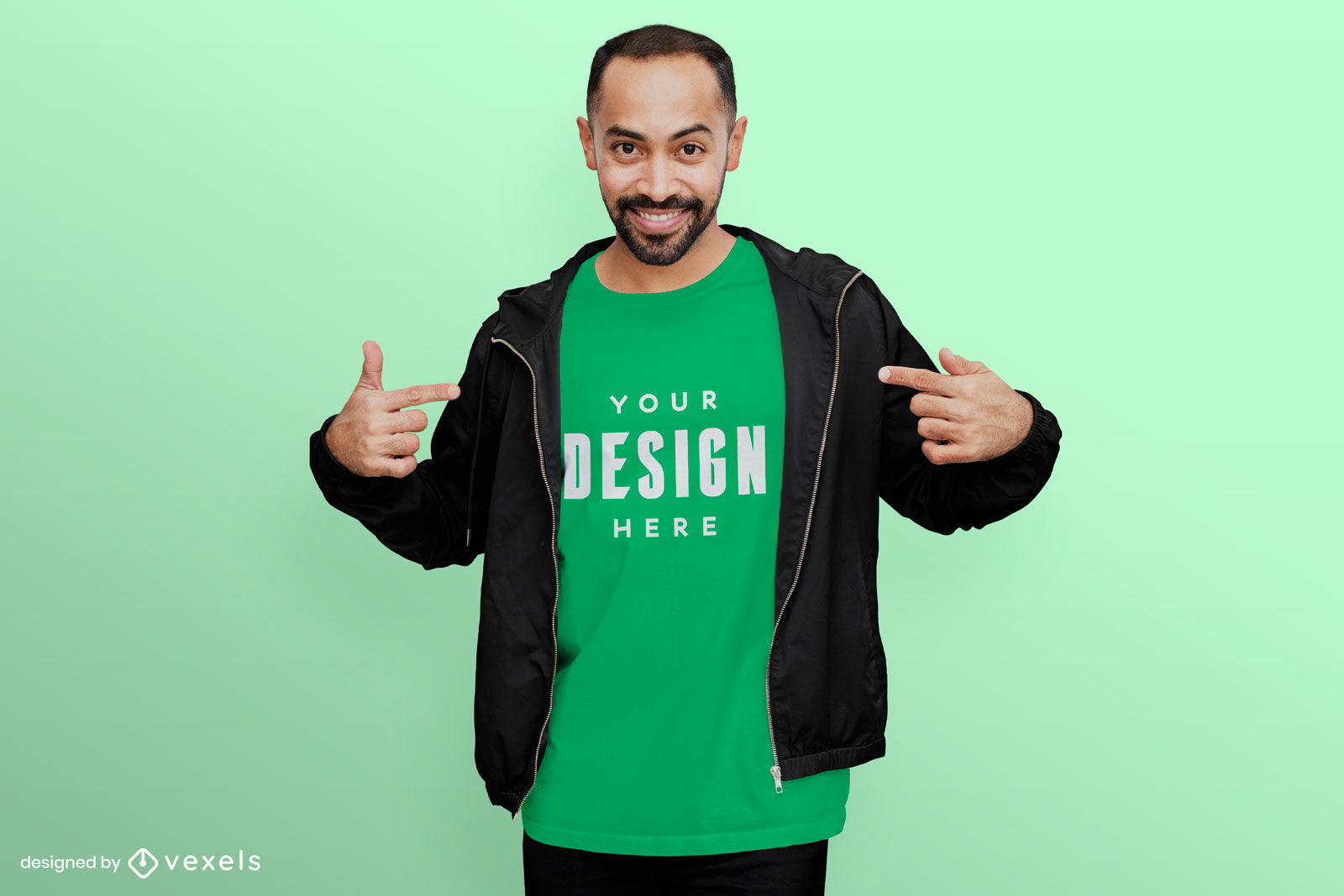 Male with hoodie t-shirt mockup green background