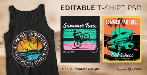 Beach summer badge scalable t-shirt psd